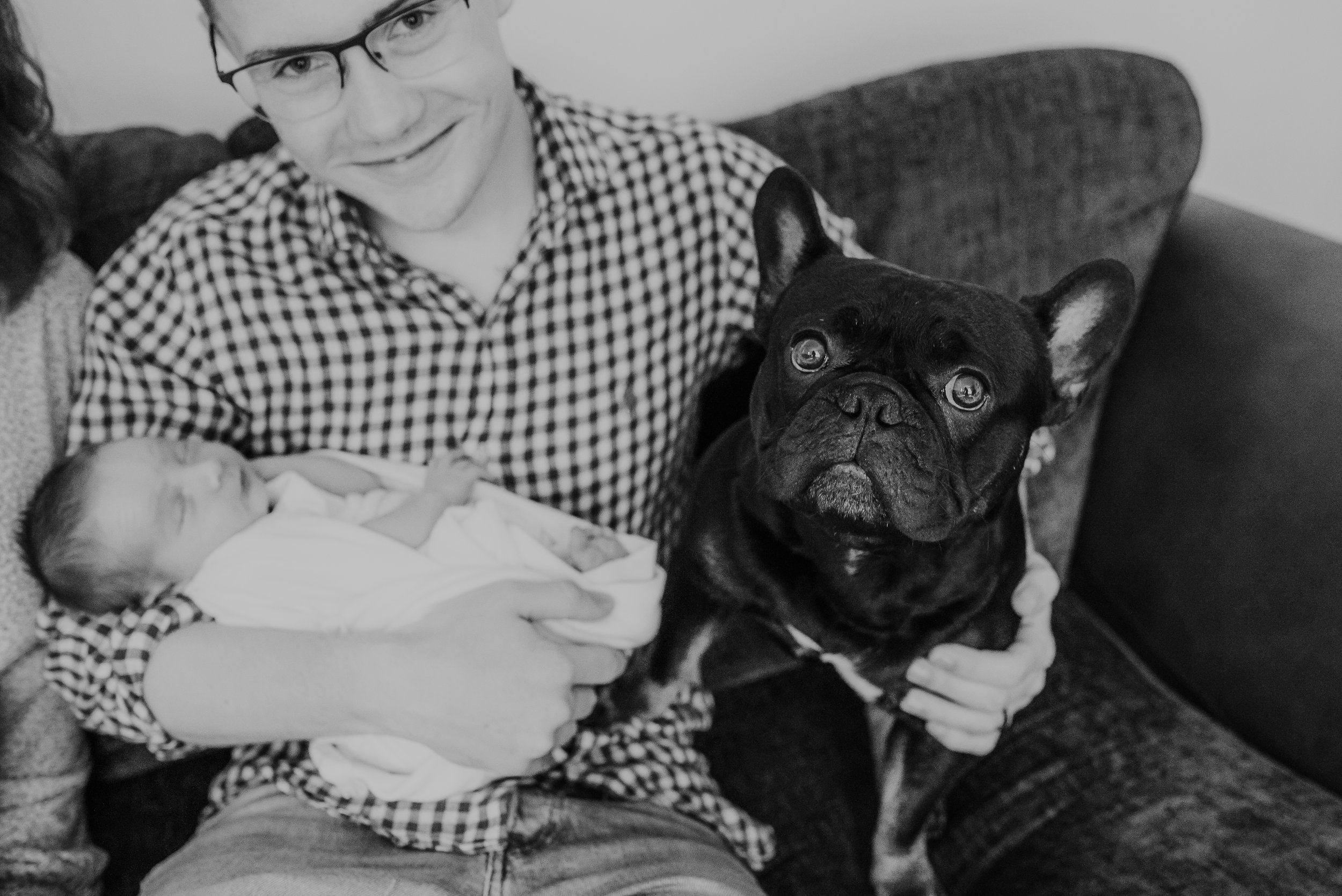 baby with family dog