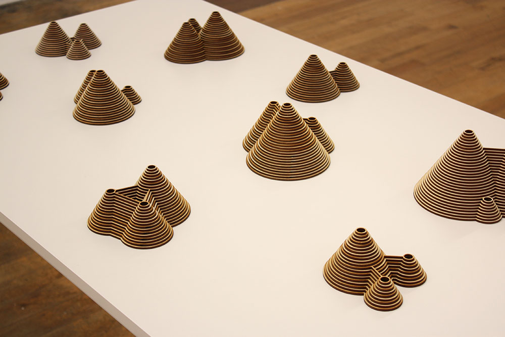 Installation view of  Triune  series, laser cut plywood sculptures