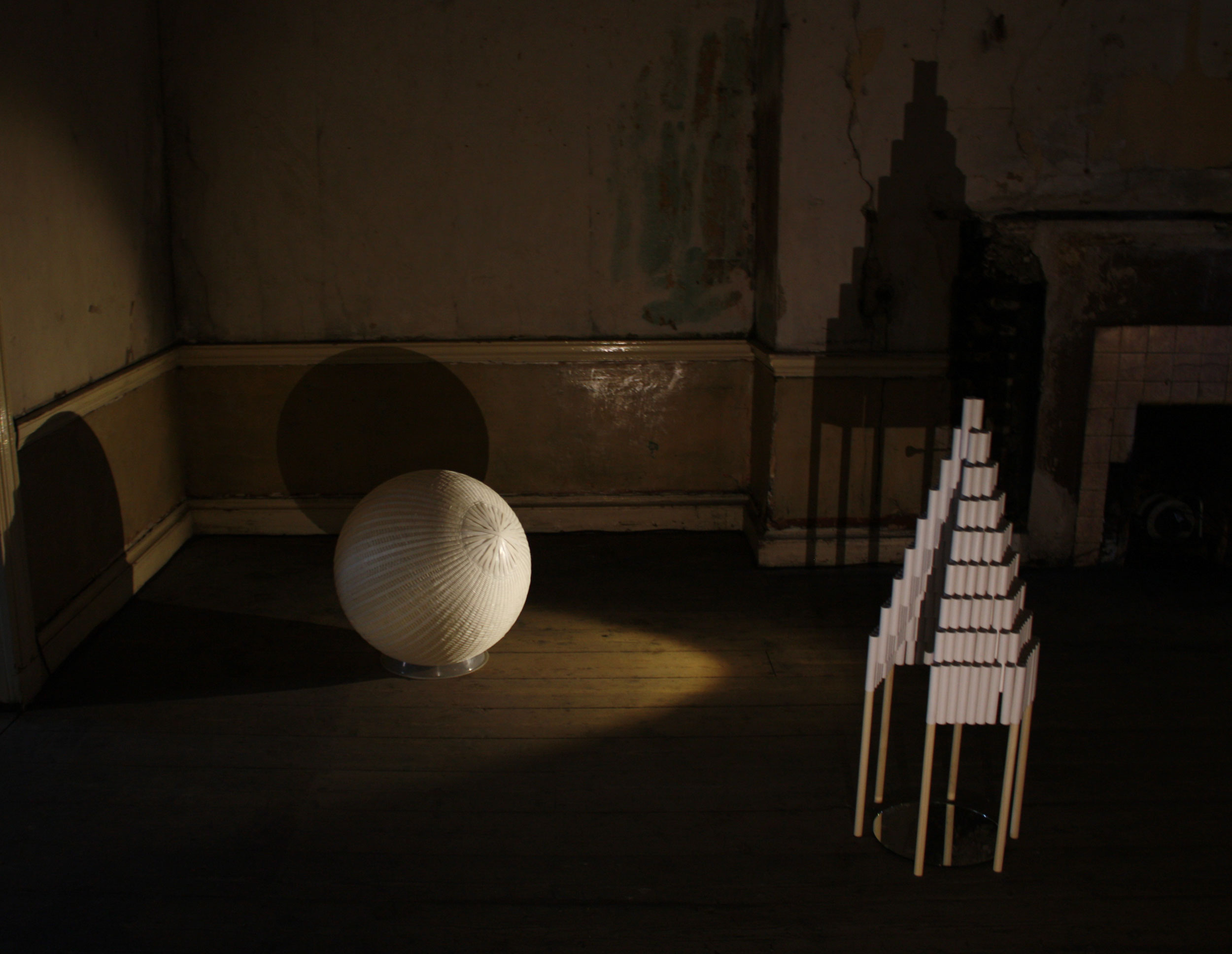 Installation view showing two  Untitled  sculptures