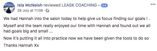 Testimonial of Hanna Leask's coaching