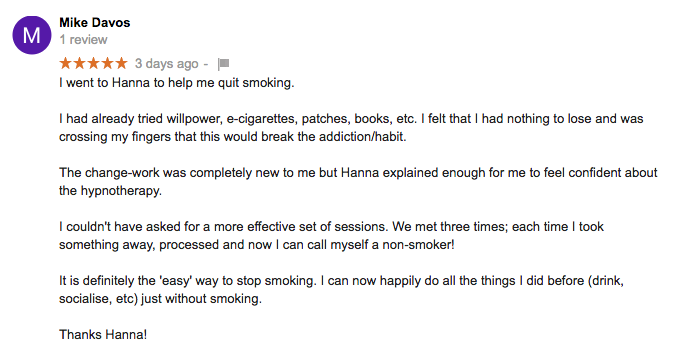 Stop smoking or quit smoking hypnotherapy review for Leask Coaching with Hanna Leask