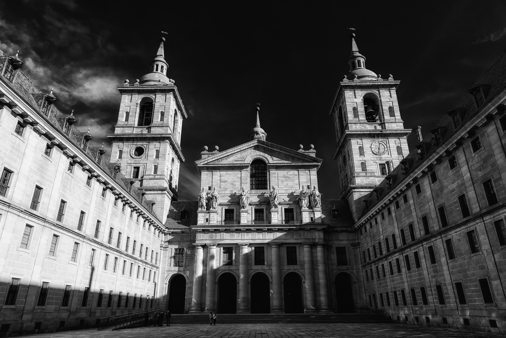 El Escorial - D750, 1/640 @f/9.0, ISO 200, 24mm - Spain's Royal Palace outside of Madrid and headquarters for the Spanish Inquisition. One of the most foreboding structures I have ever visited. Thus, my decision to portray it in black and white with sharp contrast.