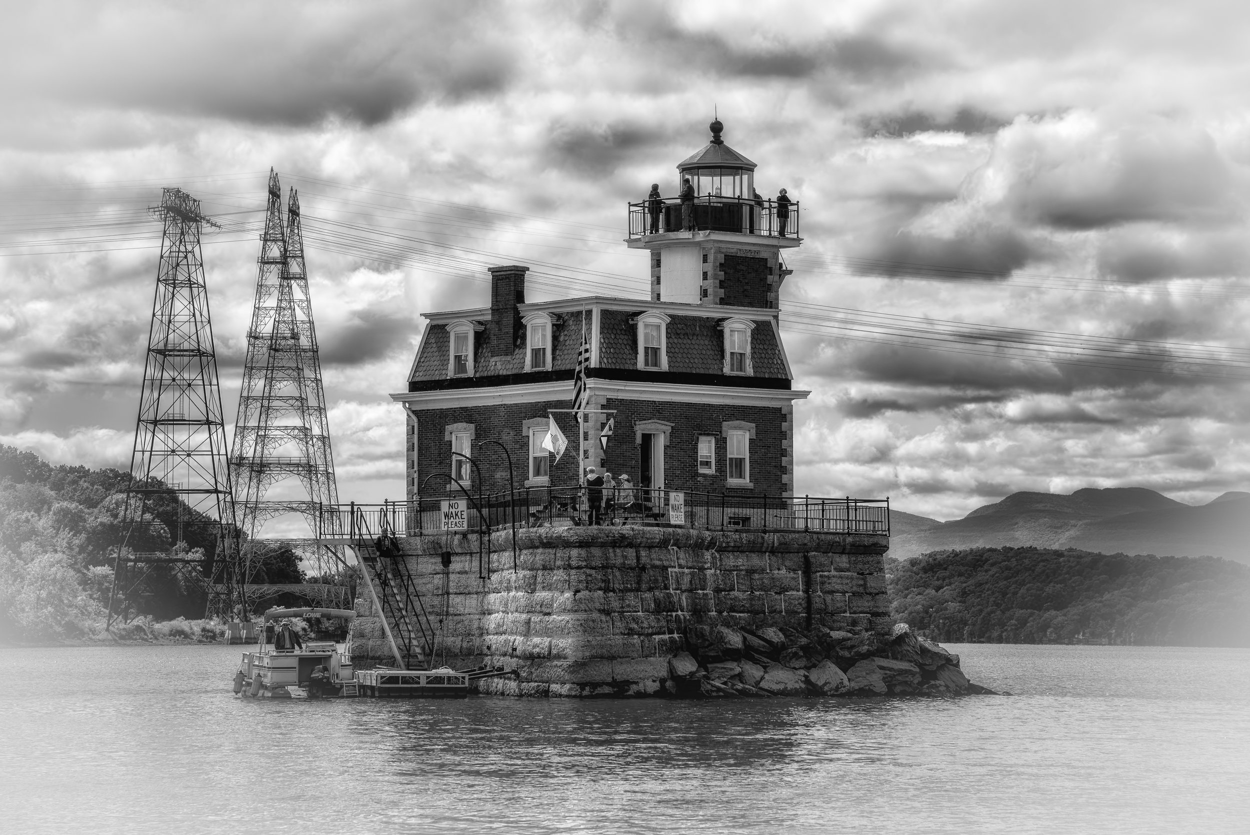 Lighthouse on the Hudson - Nikon D750, 1/800 @ f/10, ISO 200, 120mm - Converted to black and white in Silver Efex Pro. This is the Hudson-Athens Lighthouse on the Hudson River about 30 miles south of Albany.