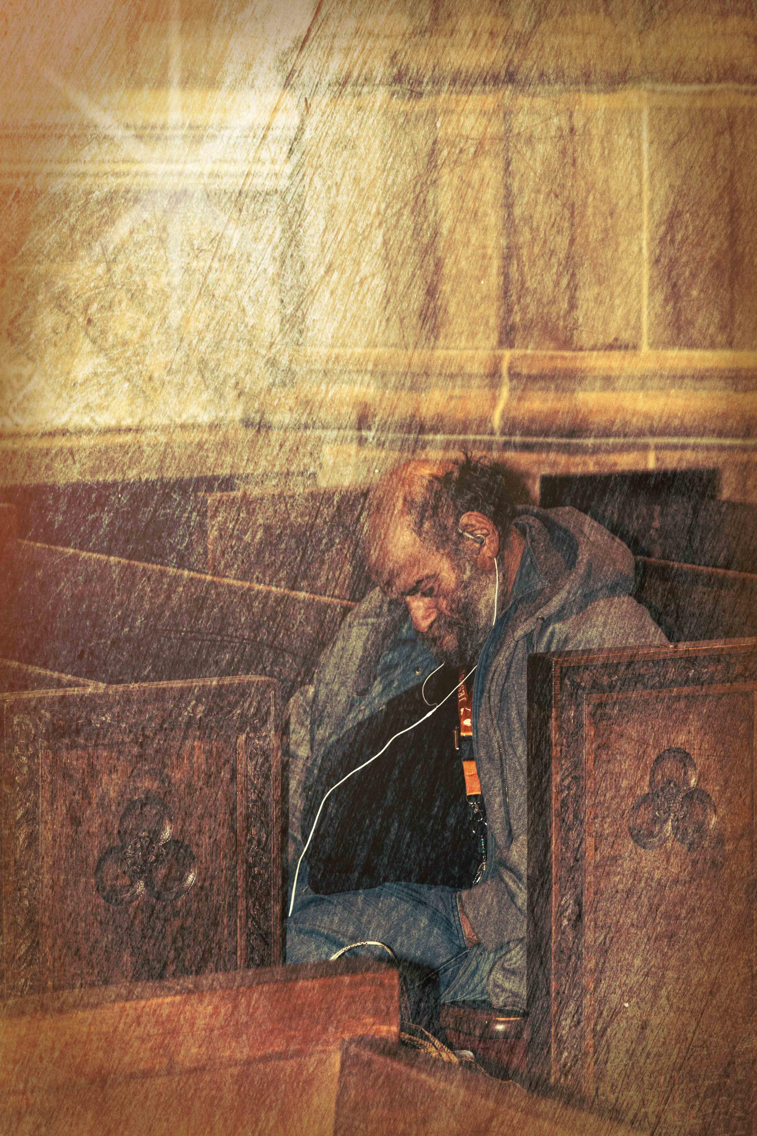 The Homeless Man and the Passerby - Nikon D7100, 1/60 @ f5.6, ISO 1600, 85mm - Shot in St. Patrick's Cathedral, NYC - See my poem of the same title in the Poetry Blog.