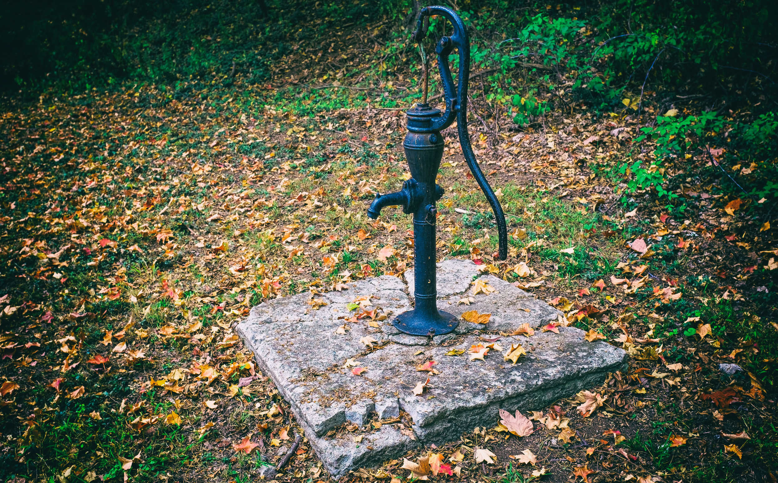 "An Old Well - Fujifilm X100T - I came across this old water pump while walking the grounds at Olana. The late season autumn leaves combined with the cracked concrete base made a fitting back-drop for this relic. Still, I could admire the beauty in the simplicity of its design. One wonders when it last drew any water? See the poem ""Empty Truth"" in the Poetry Section."