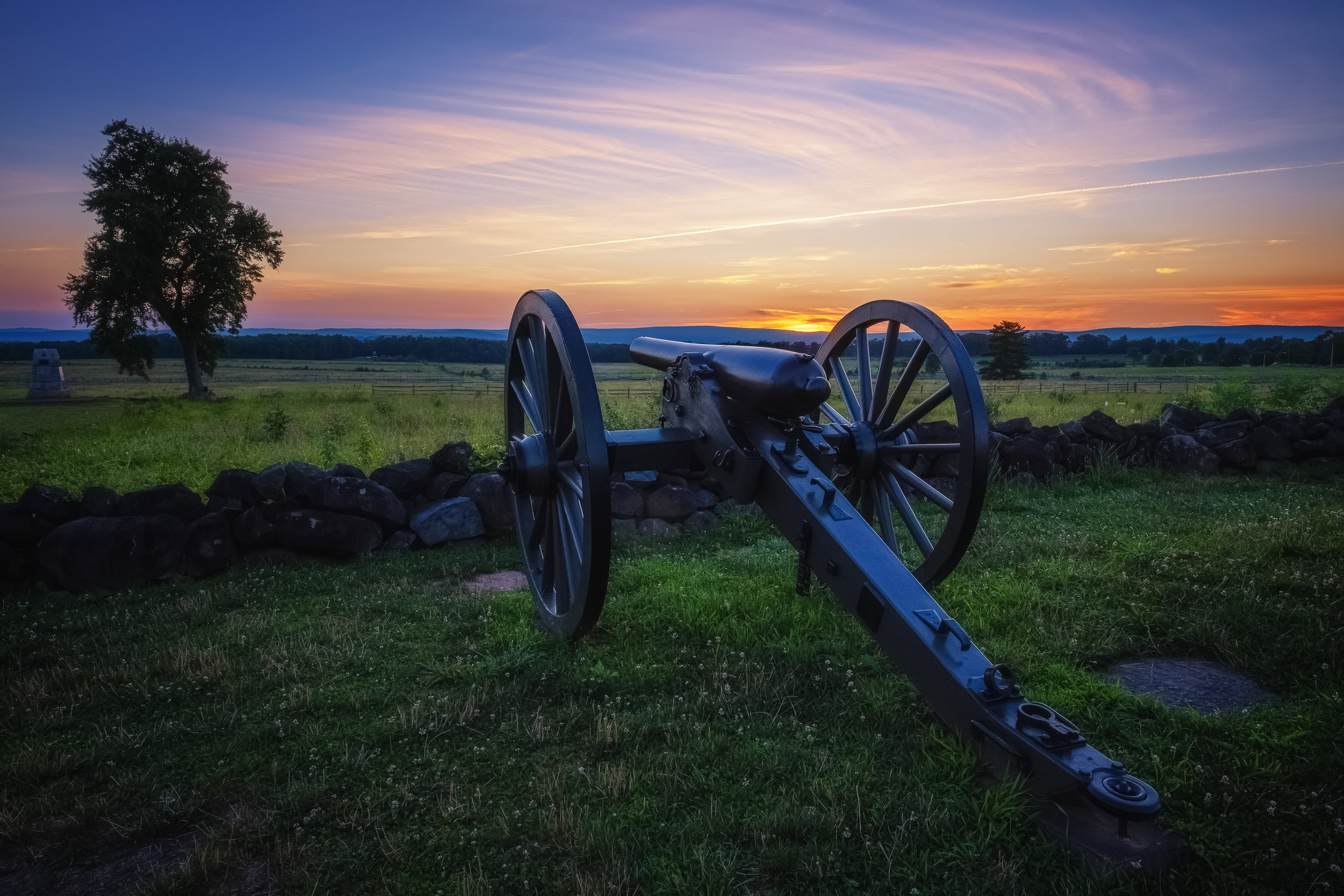 Sunset at Gettysburg - Fujifilm XT-3, 1/30 @ f/11, ISO 160, 16mm. A tripod mounted photograph shot shortly after sunset. The location is the famous Angle on Cemetery Ridge where the Confederate charge (Pickett's Charge) was repulsed on the 3rd day of the battle.