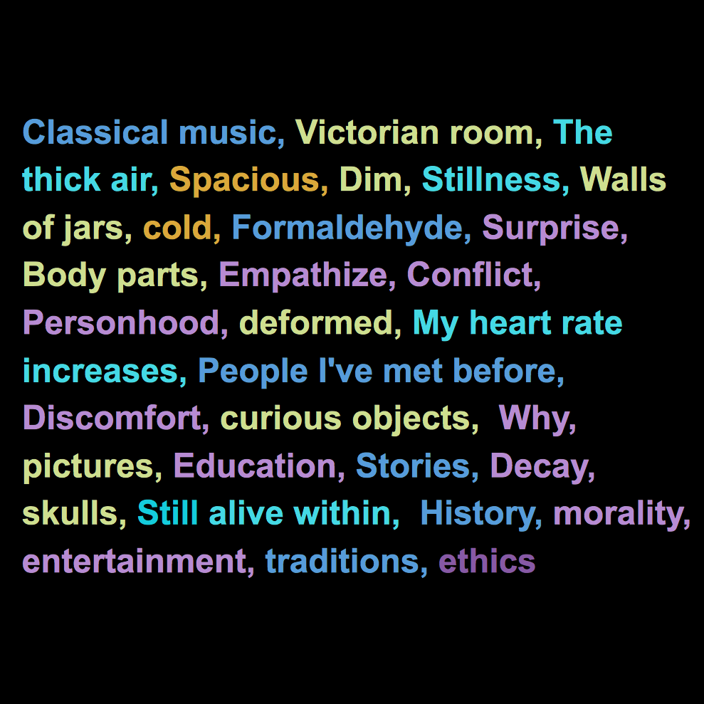 These words were spoken across 4 corners of the museum, each pertaining to a different section of the human brain. The initial associations were then used as triggers to correlate with the central spoken word performance.