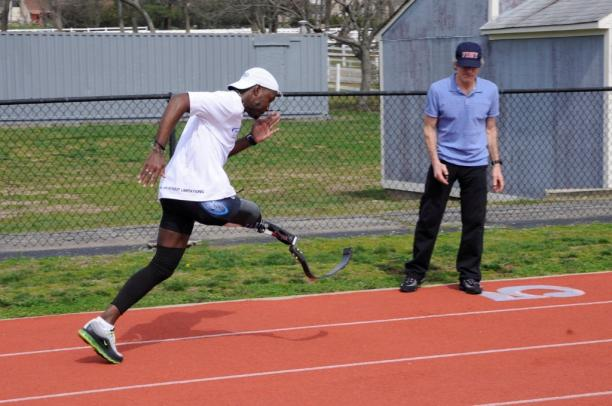 David Balsley training Jamal Pilgrim, the only sprinter from the Caribbean region who participated in the London 2012 Paralympic Games.