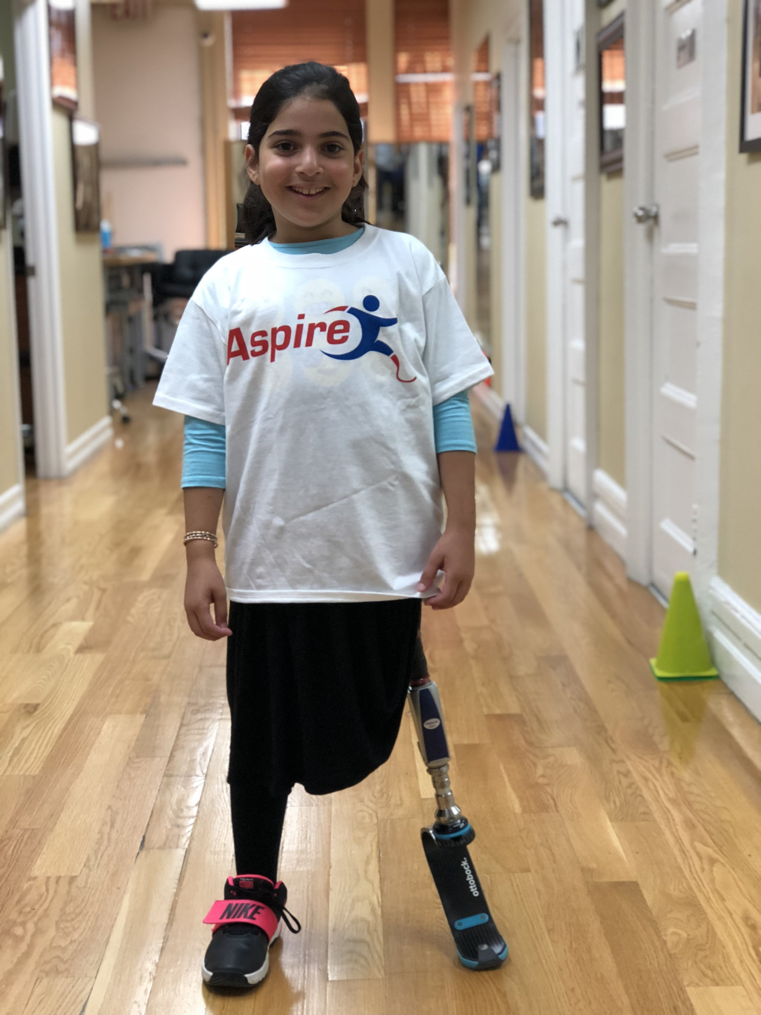 Bracha - Bracha is a hip disarticulation amputee who lost her leg at 1 years old due to Cancer. ASPIRE has provided Bracha with her first running leg of which she is now able to run, an incredible achievement for a hip disarticulation amputee.