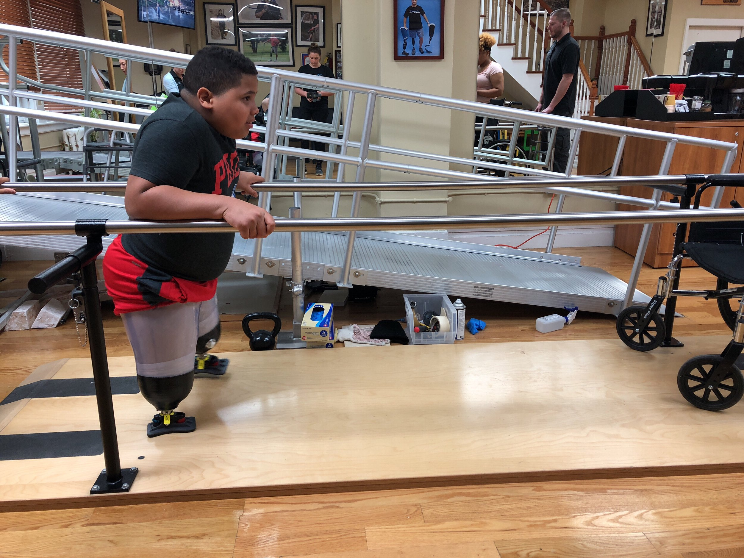 Weslie - As Weslie recently lost both his legs above the knee, ASPIRE provided Weslie with SideKicks. Helping Weslie build up his strength and better prepare him for his walking prostheses