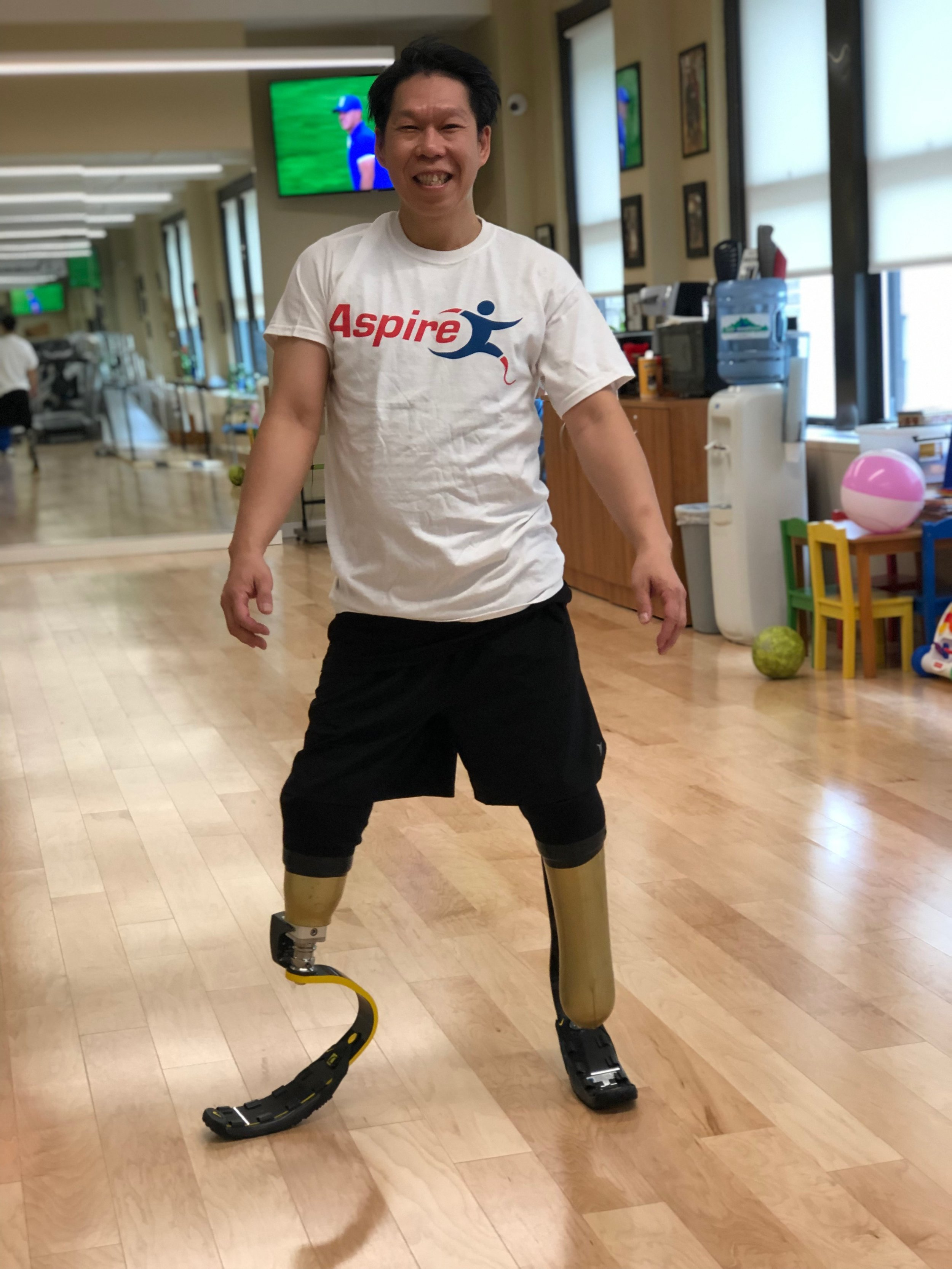 Donald - After a traumatic car accident, Donald received running blades and rock climbing prostheses so he may continue his passion of sports.