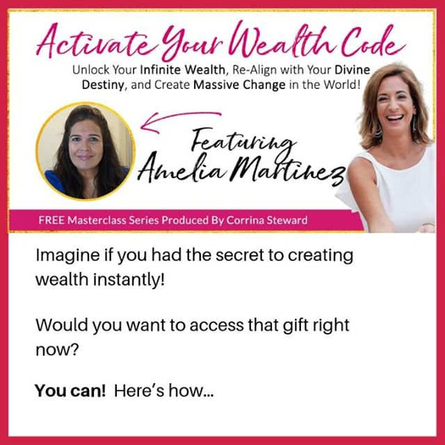 I've been asked to be on the show Activate Your Wealth Code with some of the most transformative experts on the planet to show you HOW to manifest your soul's abundance so you can unlock your wealth, realign with your divine destiny and create massive change in the world.⠀⠀⠀⠀⠀⠀⠀⠀⠀ ⠀⠀⠀⠀⠀⠀⠀⠀⠀ In this ground-breaking show, created by Corrina Steward, you'll not only Activate Your Wealth Code, you'll learn the:⠀⠀⠀⠀⠀⠀⠀⠀⠀ ⠀⠀⠀⠀⠀⠀⠀⠀⠀ Ways of being that unlock your infinite wealth from your soul⠀⠀⠀⠀⠀⠀⠀⠀⠀ Mindset shifts that re-align your life to your divine destiny⠀⠀⠀⠀⠀⠀⠀⠀⠀ The steps to activating the hidden wealth, a gift from your soul, inside you. ⠀⠀⠀⠀⠀⠀⠀⠀⠀ ⠀⠀⠀⠀⠀⠀⠀⠀⠀ GET ACCESS TO THE ACTIVATE YOUR WEALTH CODE SHOW HERE: https://www.activateyourwealthcode.com/Amelia ⠀⠀⠀⠀⠀⠀⠀⠀⠀ ⠀⠀⠀⠀⠀⠀⠀⠀⠀ #millionairemindset #entrepreneur #entrepreneurlife #girlboss #womenentrepreneurs #womeninbusiness #millionaire #businesscoach #transformationexpert #workdhardplayhard #womensupportingwomen #businesswoman #womenempowerment #gratitude #stitchfix #betterthingstodo #inmymm #mmlafleur #shoulderup #wiselatina #makeithappen #femaleentreprenur #believeinyourself #attitudegratitude #choosehappiness #mindfulness #trusttheprocess #happy365 #genius #happiness