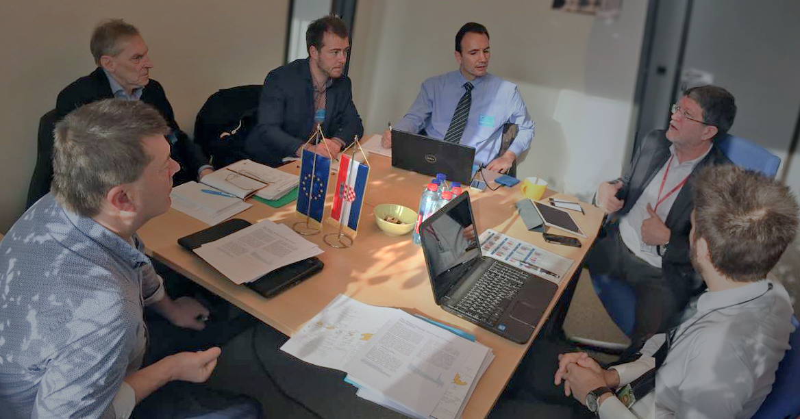 WASAC  core team, from left to right: Mairtin O'Mealoid, Anders Nordström, Maxime Bredin, Christoforos Perakis, MEP Tonino Picula (S&D), Ivan Matić, and Christian Pleijel behind the camera.