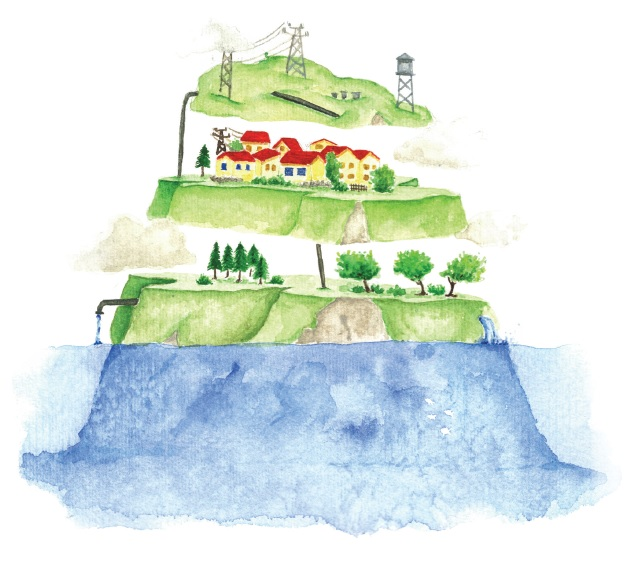 The three layers of an island illustration.