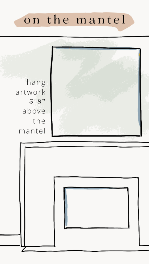 """When hanging artwork over the mantel, shoot for 5-8"""" between the edge of the mantel and the bottom of the piece. (Remember, leaning is always an option, too)"""
