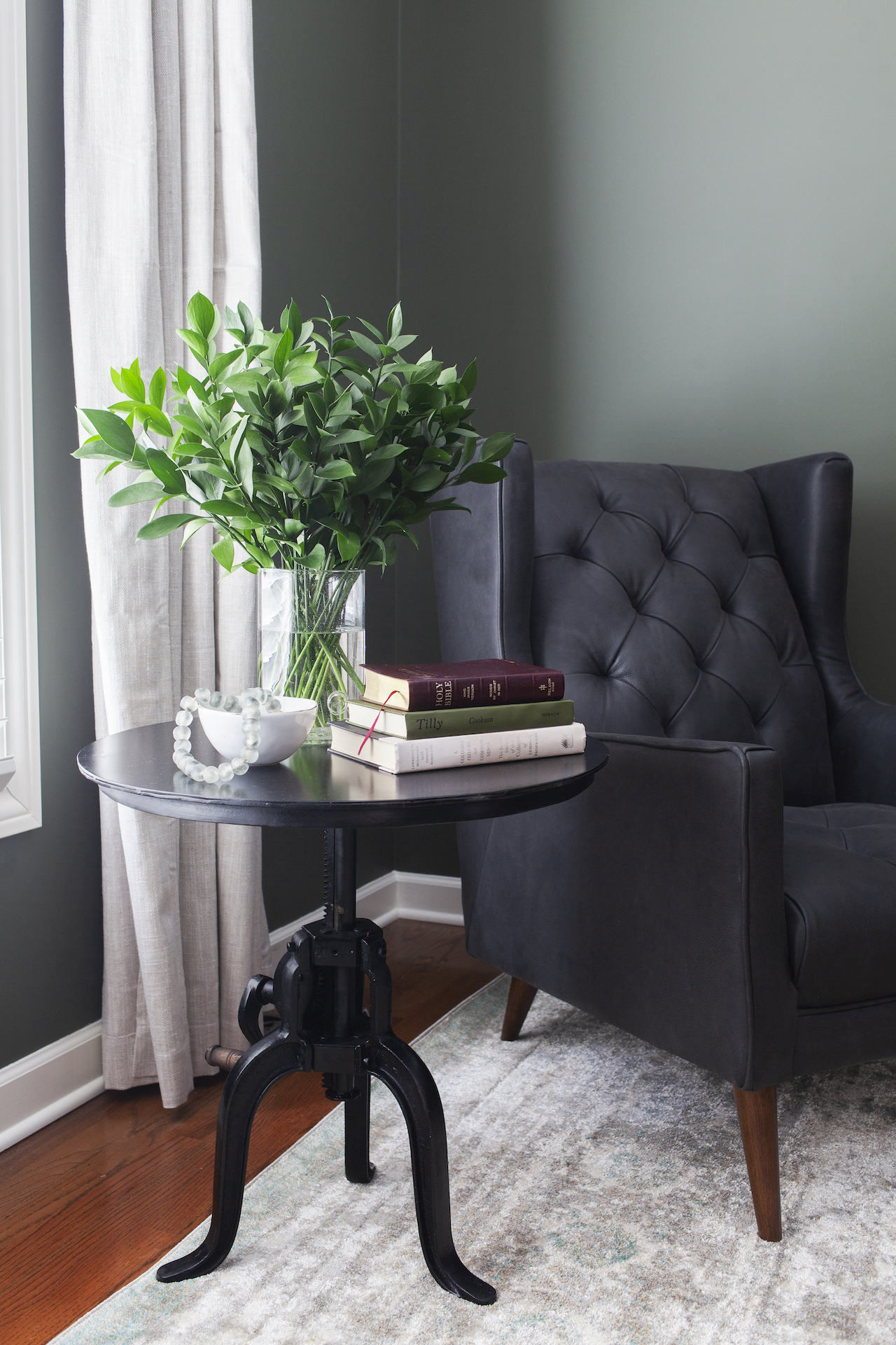 SHOP THE LOOK        Barry Chair ,  Rockwell Table ,  Aqua Styling Beads ,  Anastasia Grey Rug