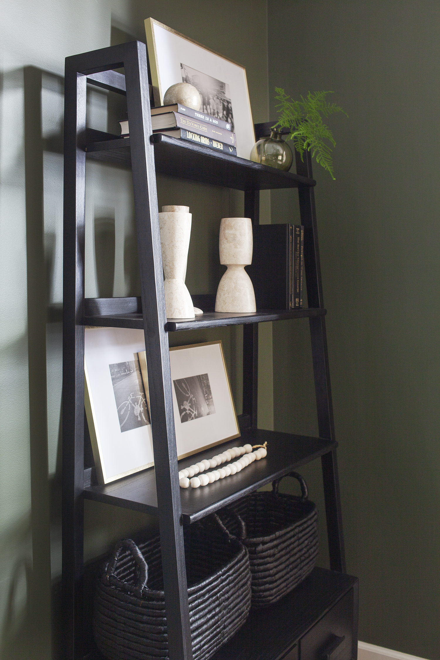 SHOP THE LOOK      Johnson Bookcase ,  Marble Architect Objects , ,  White Styling Beads