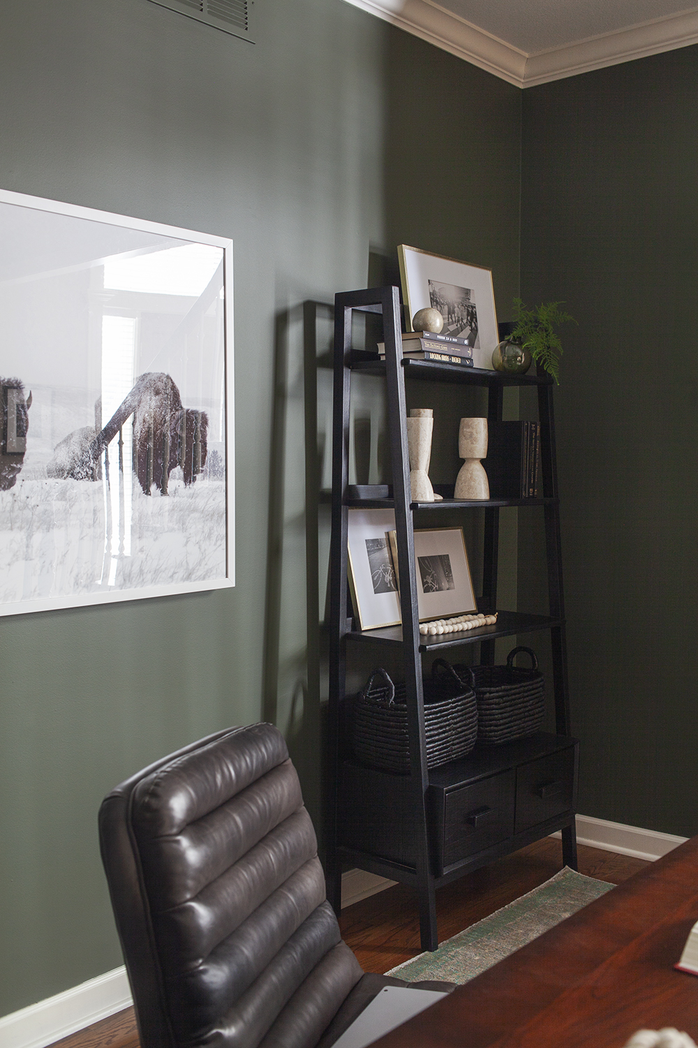 SHOP THE LOOK        Johnson Bookcase ,  Olive Sphere Vase ,  Marble Architect Objects