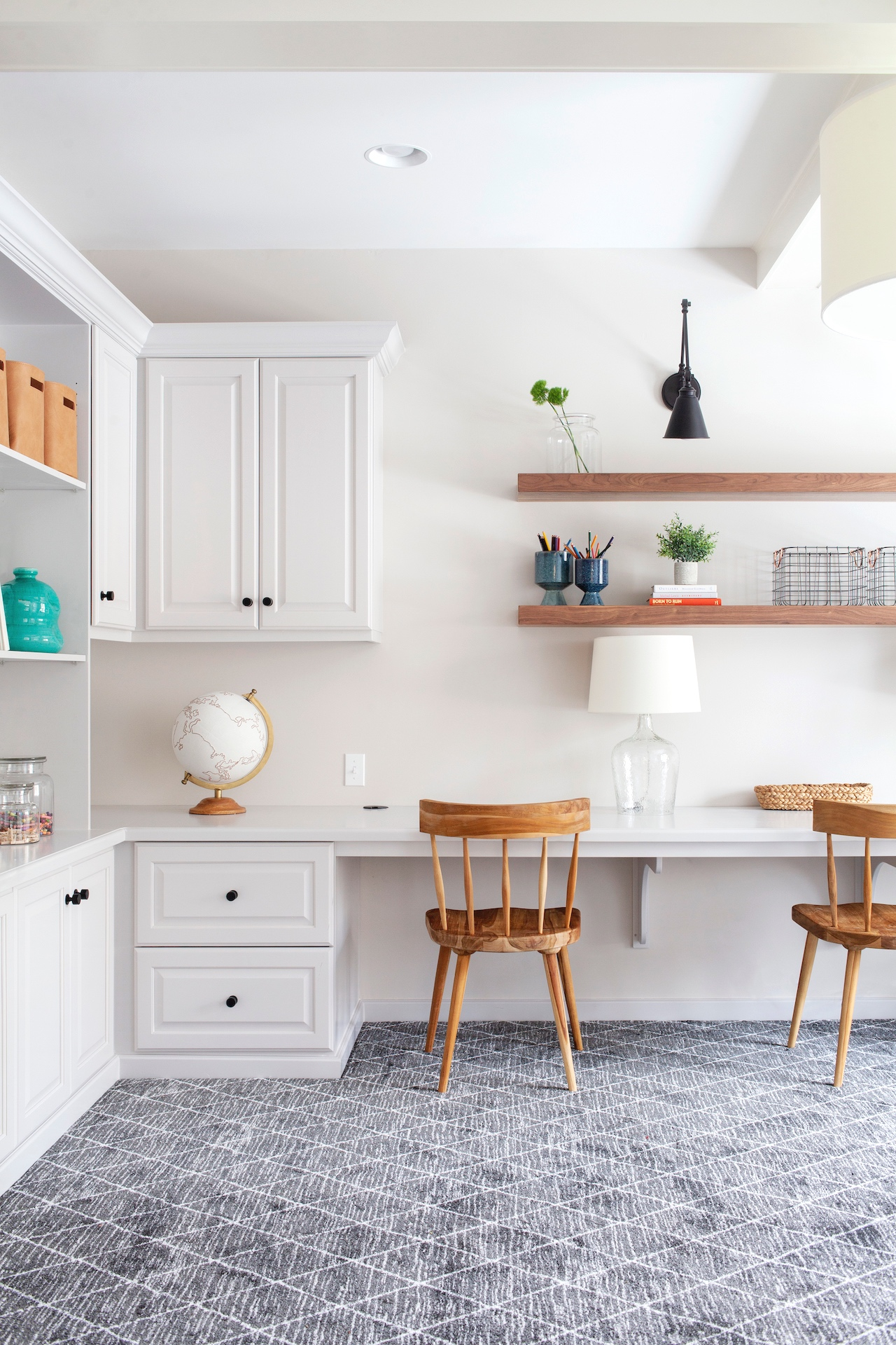 SHOP THE LOOK    |     Berkley Pots ,  Canvas Globe ,  Esme Chair ,  Morland Adjustable Sconce ,  Medium French Mason Jar
