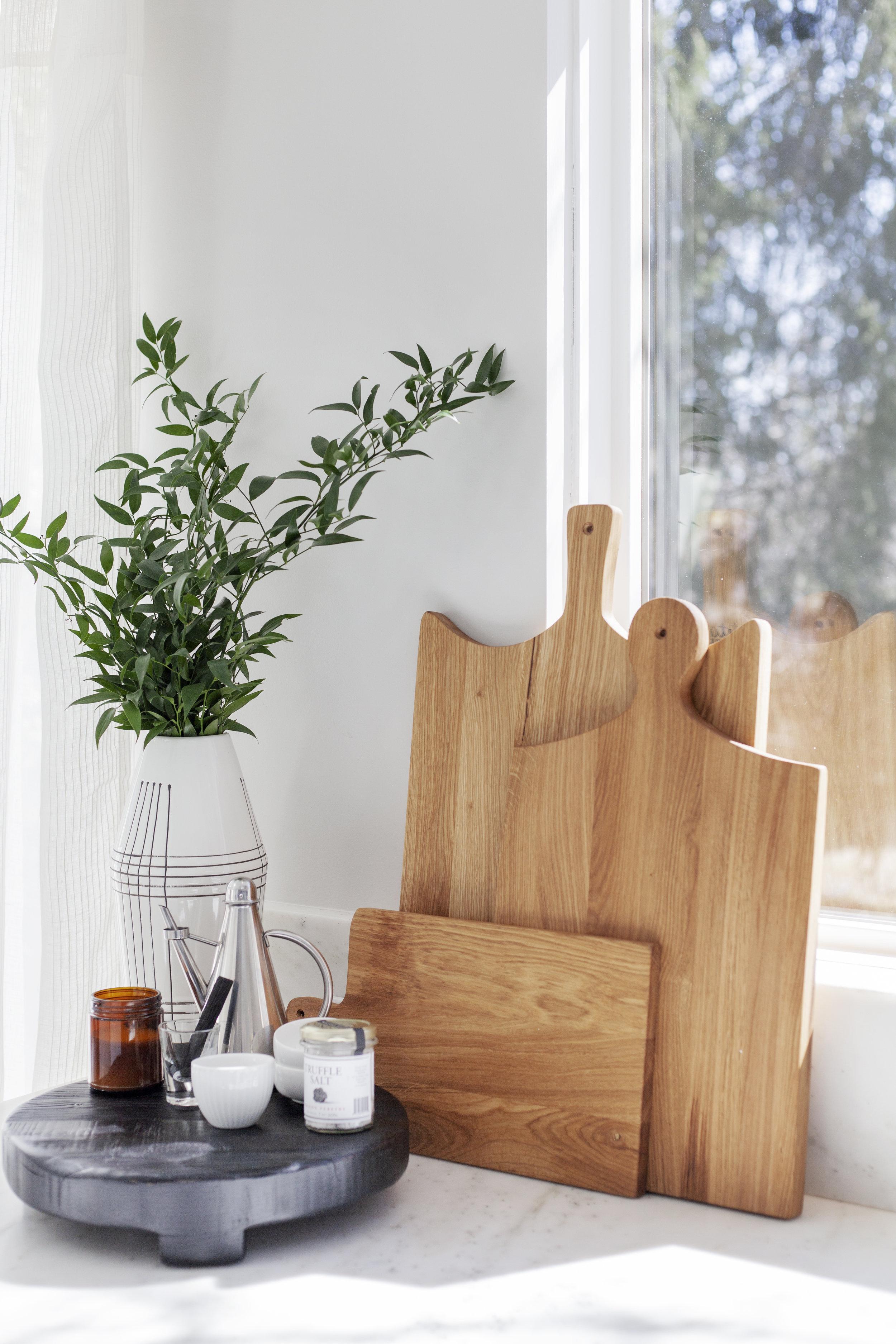SHOP THE LOOK:   White Stripe Modern Vase,   European Cutting Boards (Set of 3) ,  Brasserie Round Trivet