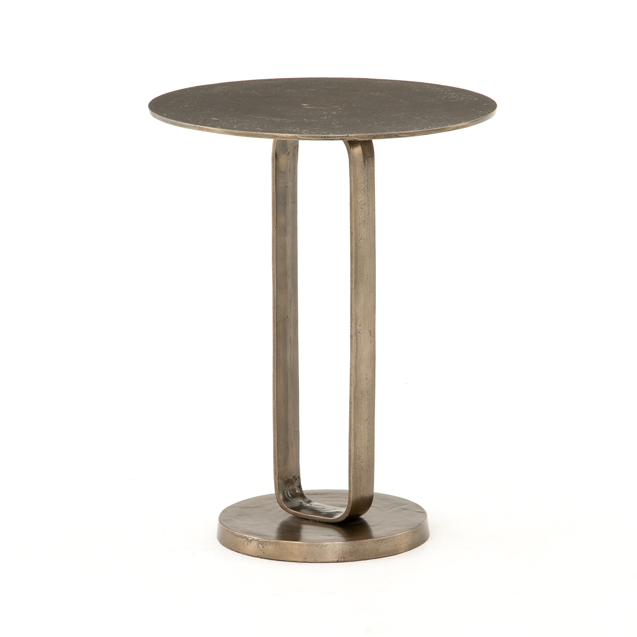 Douglas End Table    |  Precise curves with modern presence. Rounded base and tabletop of aged bronze-finished aluminum are connected via a shapely ring, for an open look and fun blend of scale and proportion. Safe for outdoor use, too!