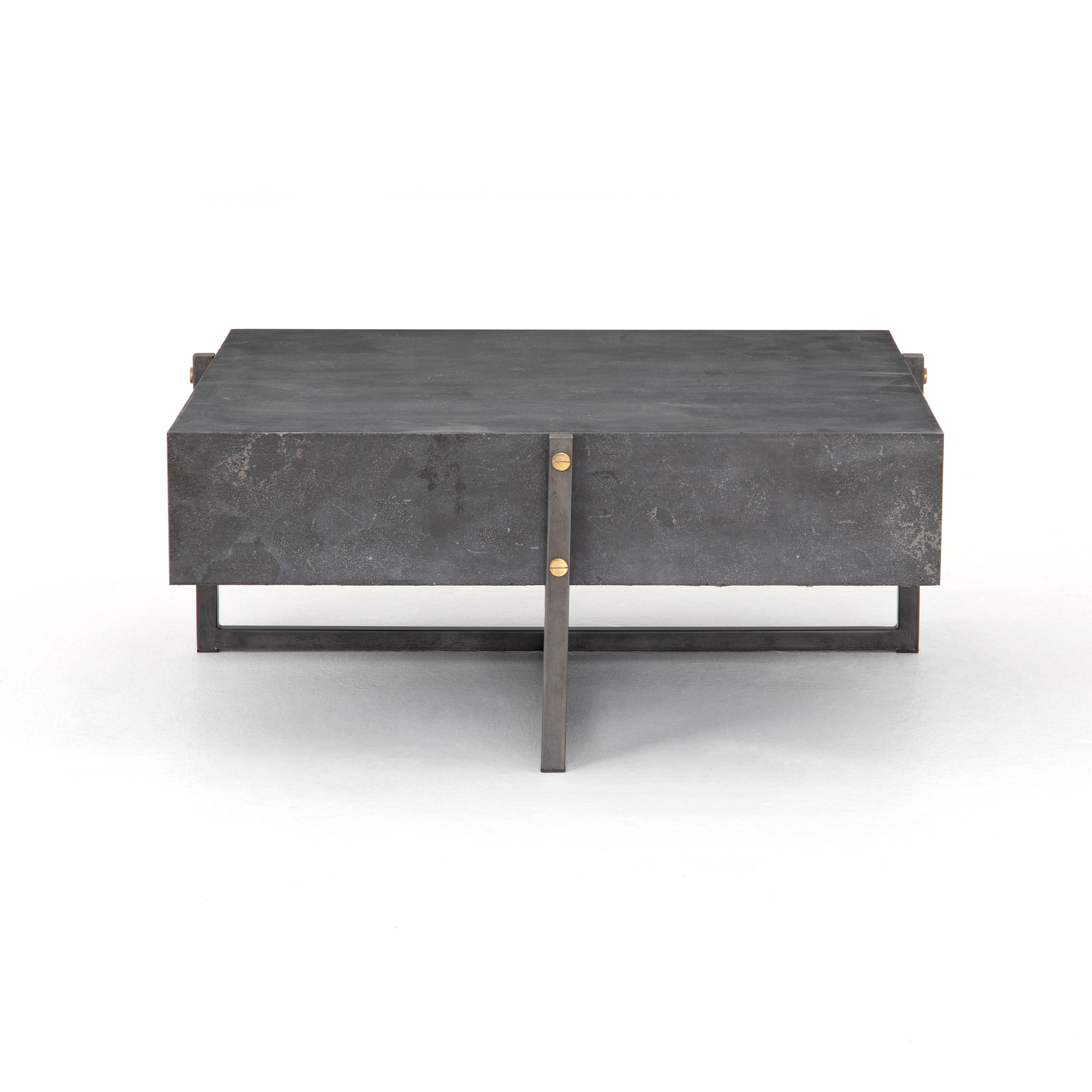 Keppler Square Coffee Table    |  Style, squared. A low, modern-minded coffee table of solid bluestone sits within a rustic black iron framing, for a light look with substantial feel, and a side of industrial edge.