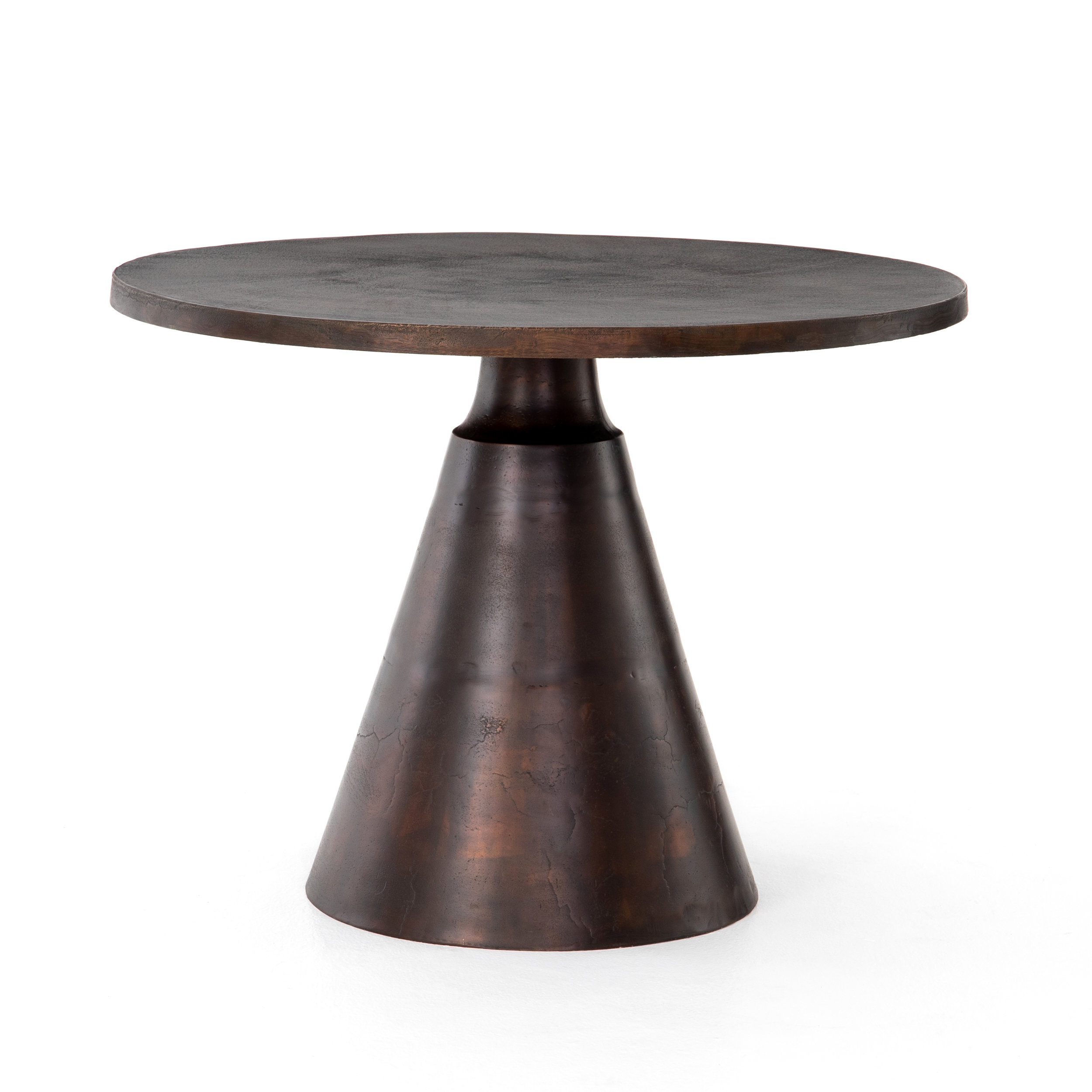 Mina Bistro Table    |  This solid aluminum table is finished in antique ruse for a visually arresting look, indoors of out. We recommend covering this industrial beauty during inclement weather.