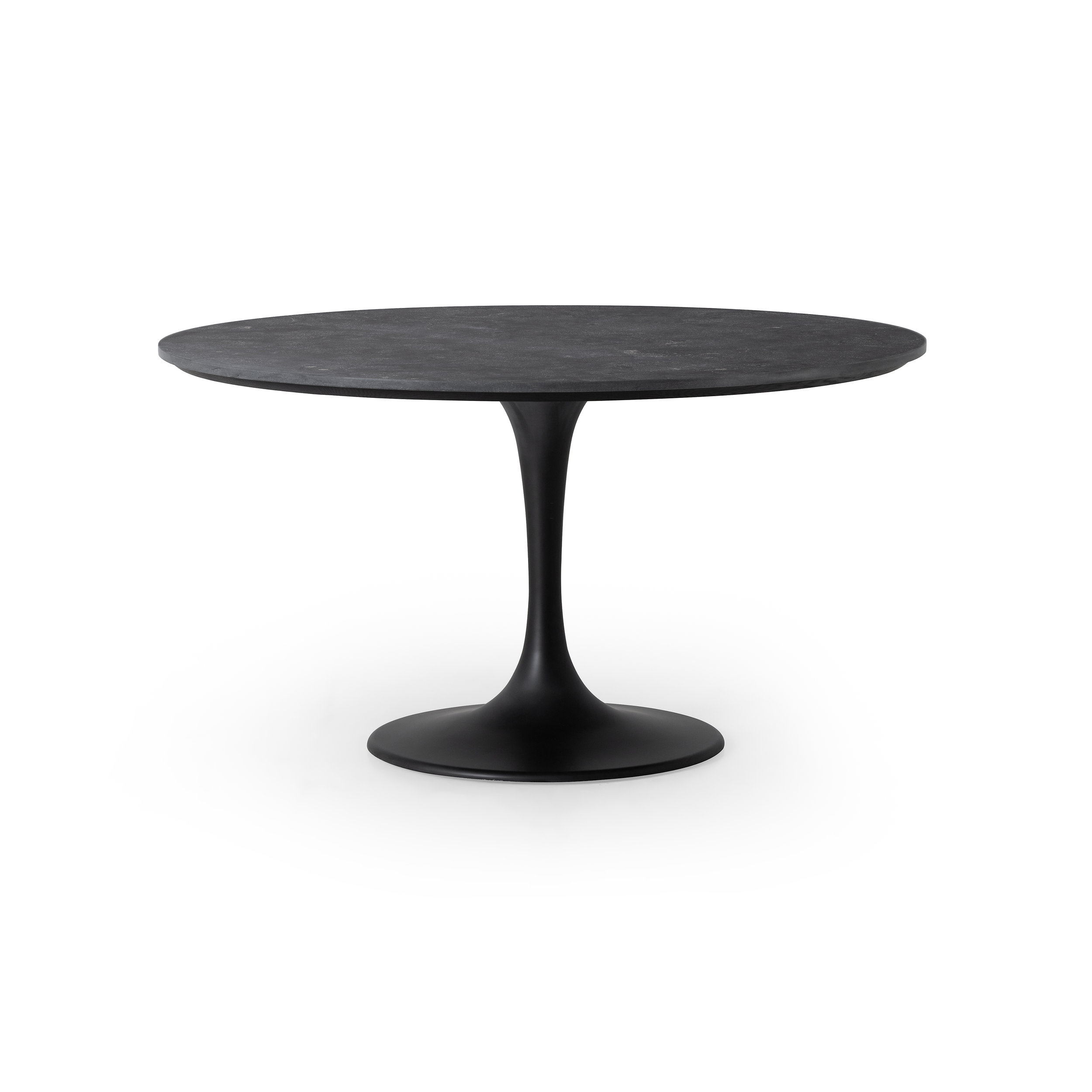 Powell Dining Table with Bluestone    |  The lovely and feminine tulip frame of this table is blended seamlessly with a rustic black iron finish to create a table that is both sweet and serious.