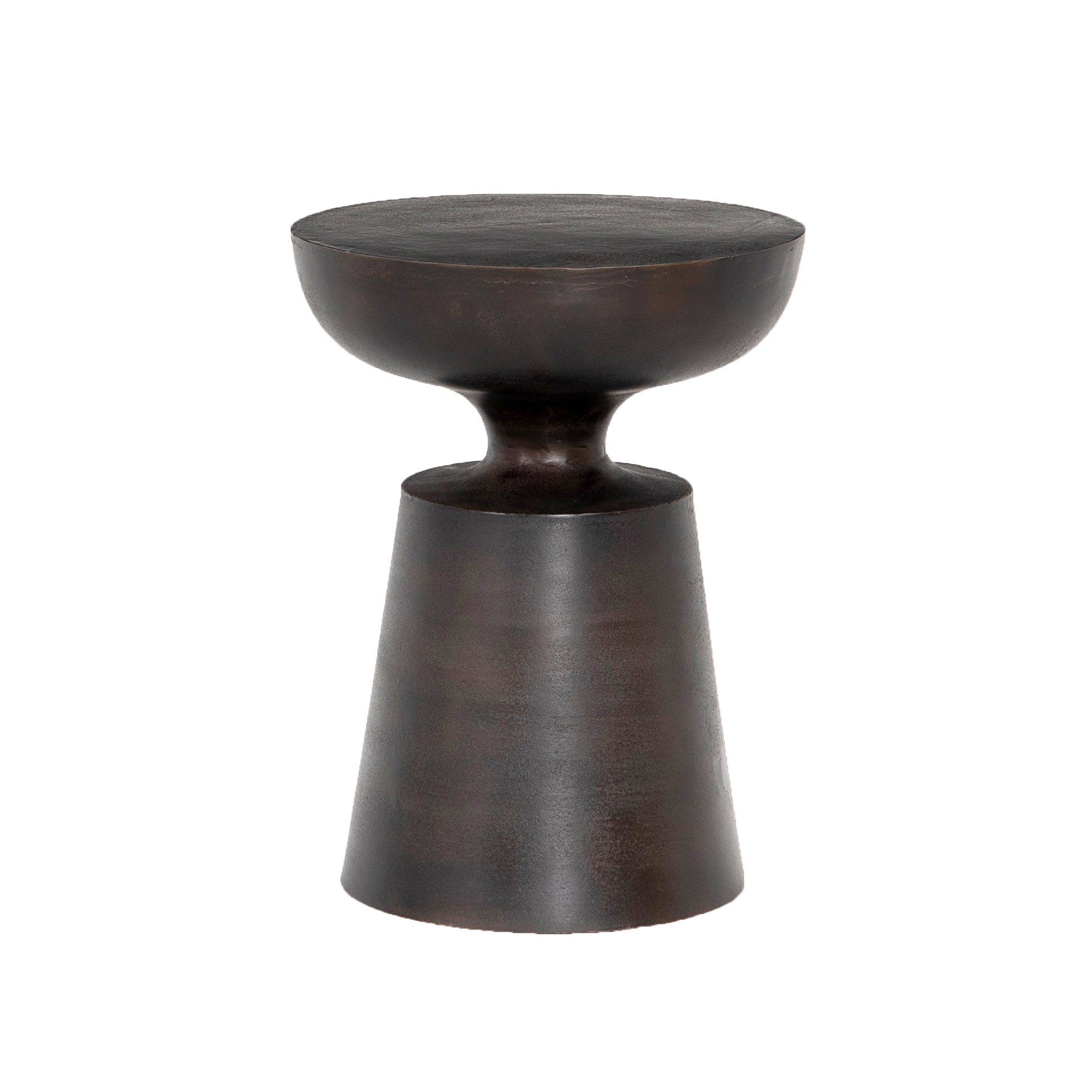 Cruz End Table |   Unique in every way, this table makes for a playful pedestal and can be used indoors or outdoors. Cover this table during cases of inclement weather to protect its antique rust finish.