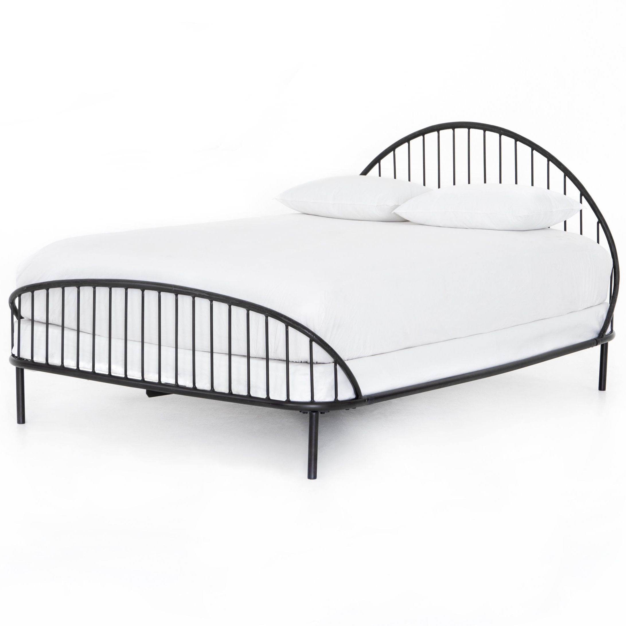 Waverly Iron Bed    |  Soft and feminine with a found feel. Hand-wrought iron is shaped by hand into an intriguing arc, with open railing for a light look.