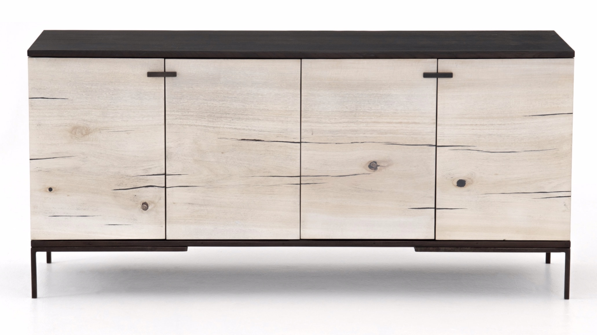 Cuzco Small Media Console    |  Slender legs of gunmetal-finished iron support a black ash frame, as resin fills the natural graining of bleached yukas. Pattern and depth of resin vary from piece to piece, due to wood species' inherent nature.