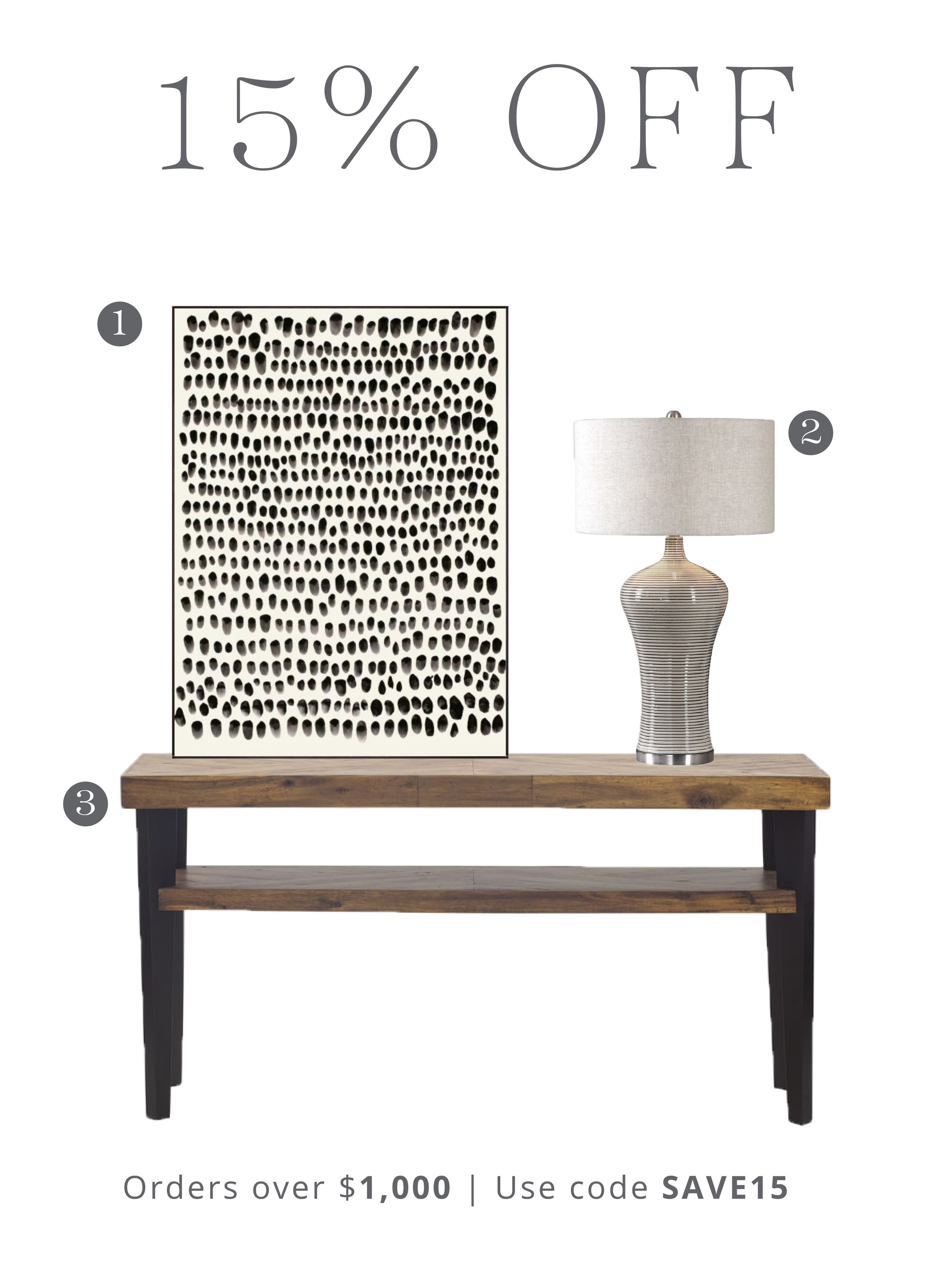 1.  Black Dots Art  | 2.  Dubrava Table Lamp  | 3.  Park Console Table