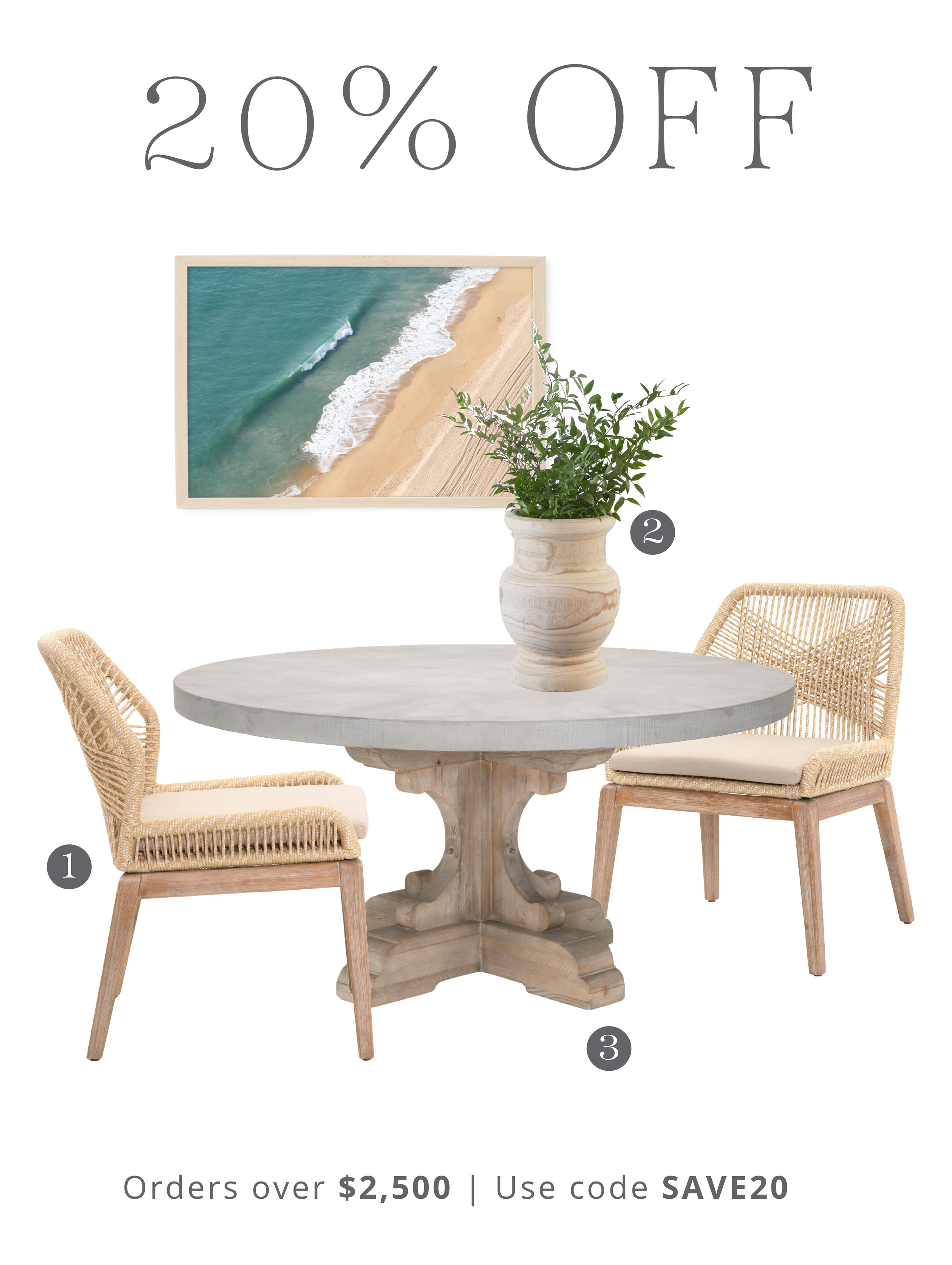 1.  Loom Dining Chair | 2.  Laguna Wooden Vase  | 3.  Bastille Dining Table