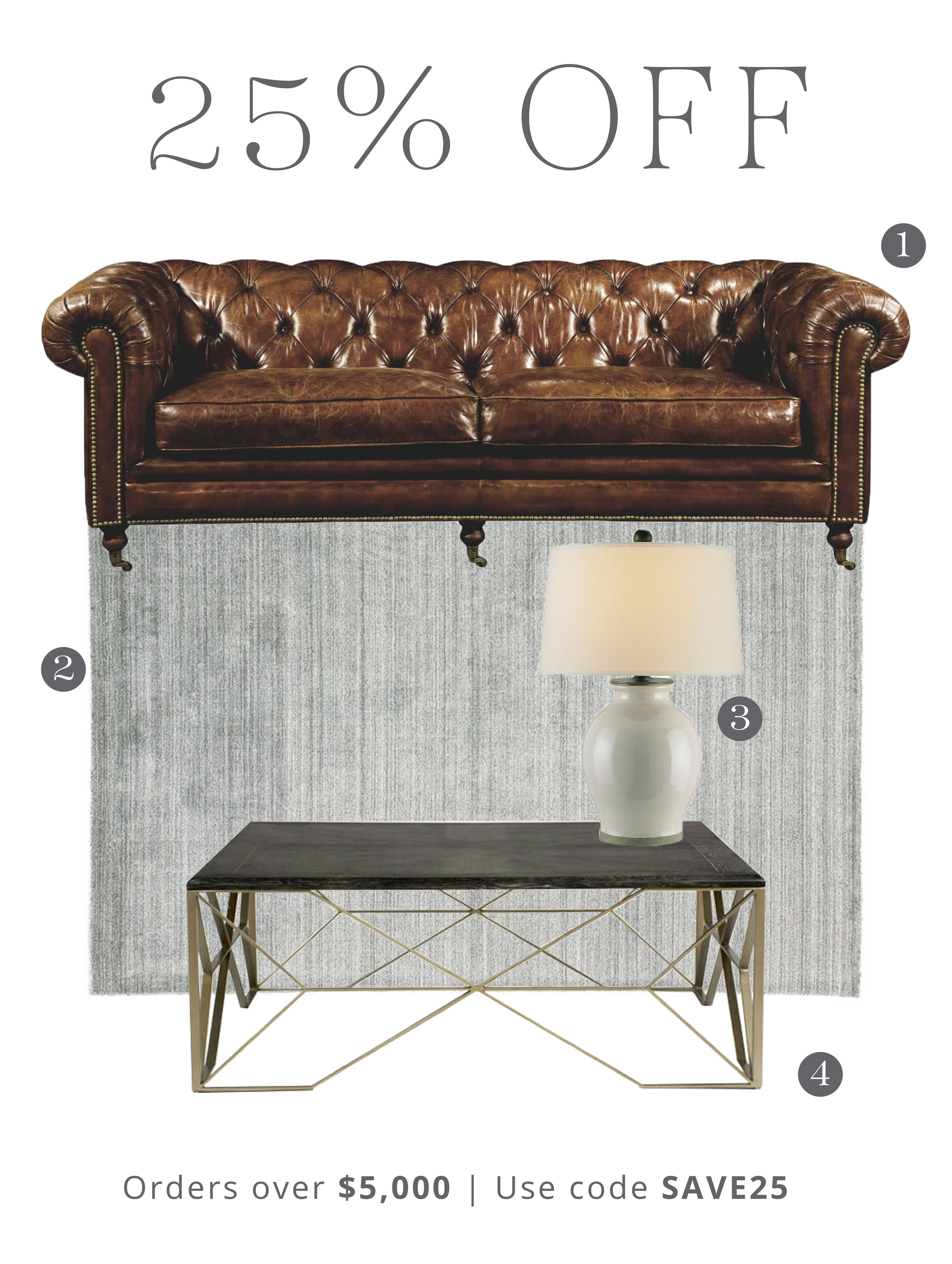 1.  Birmingham Sofa  | 2.  Lefka Rug  | 3.  Fittleworth Lamp  | 4.  Theodore Coffee Table