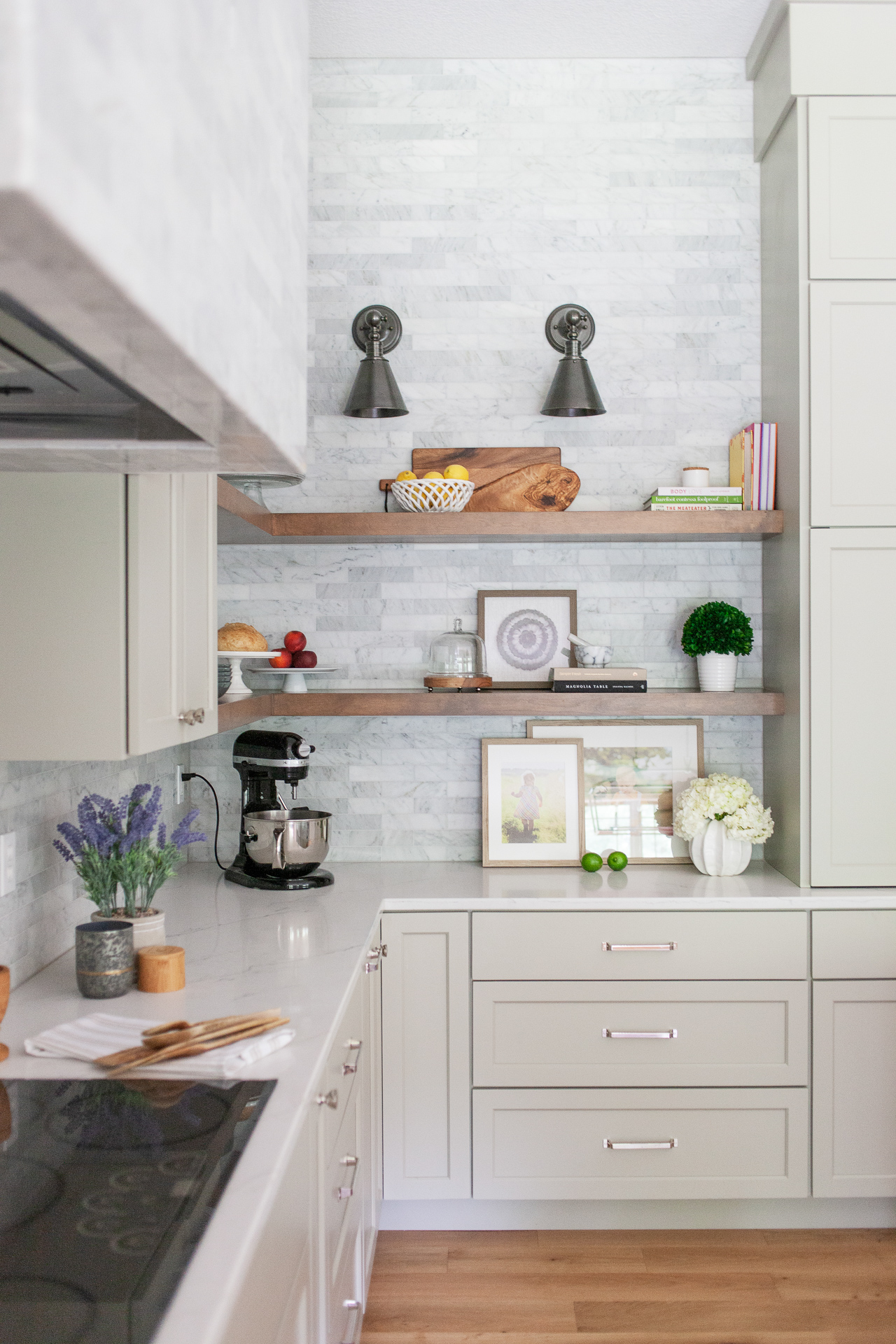 Kitchen accessories from  E2U  stun on these open shelves.