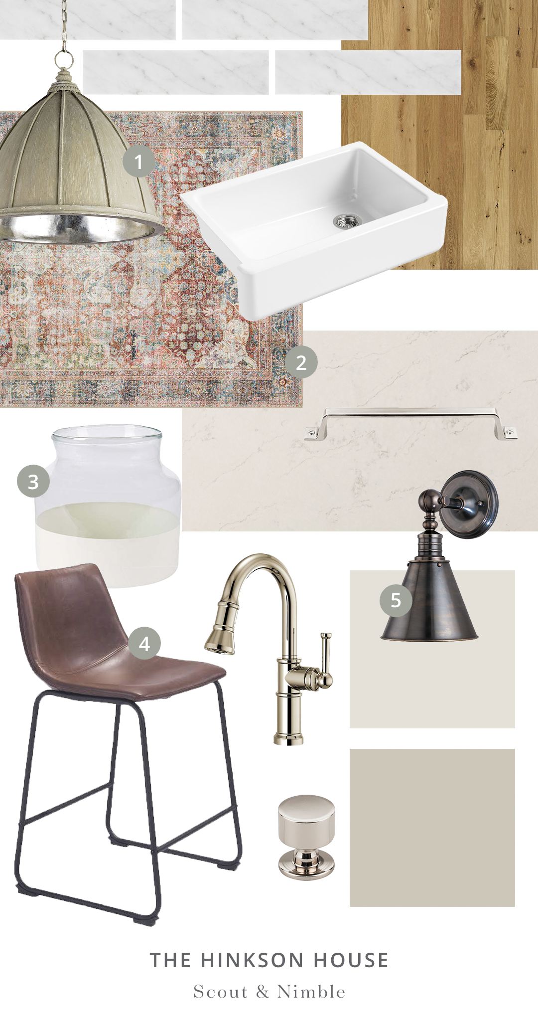 SHOP THE ROOM    |  1.    Fenchurch Pendant  2.  Loren Rug Brick/Multi  3.  White Color Block Flower Vase  4.  Smart Counter Stool  4.  Darien Wall Sconce