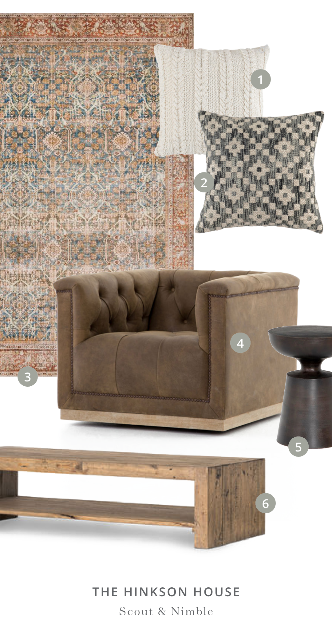SHOP THE ROOM    |  1.  Purl Ivory Throw Pillow (Set of 2 ) 2.  Onyx Throw Pillow (Set of 2)  3.  Layla Rug in Ocean/Rust  4.  Maxx Swivel Chair  5.  Cruz End Table  6.  Beckworth Coffee Table