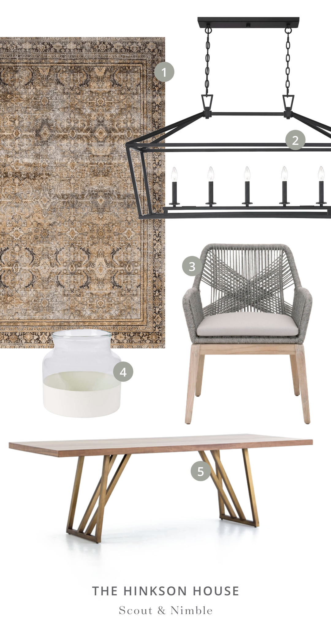 SHOP THE ROOM    |  1.  Layla Rug in Olive/Charcoal  2.  Townsend 5 Light Trestle  3.  Loom Dining Chair (Set of 2)  4.  White Color Block Flower Vase  5.  Kapri Dining Table