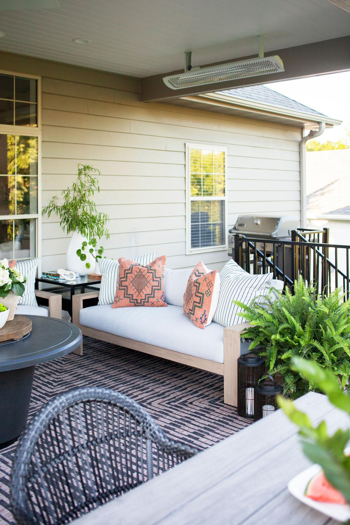 Shop the Look  |  Isle Brown/Black Rug ,  Monterey Outdoor Sofa