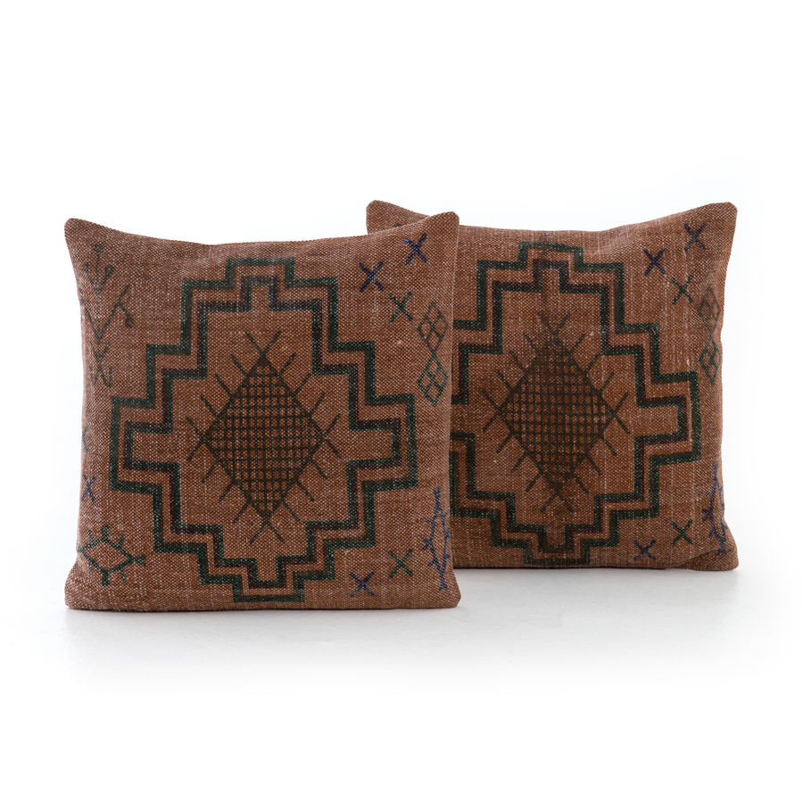 Tribal Print Rust Pillow, Set of 2