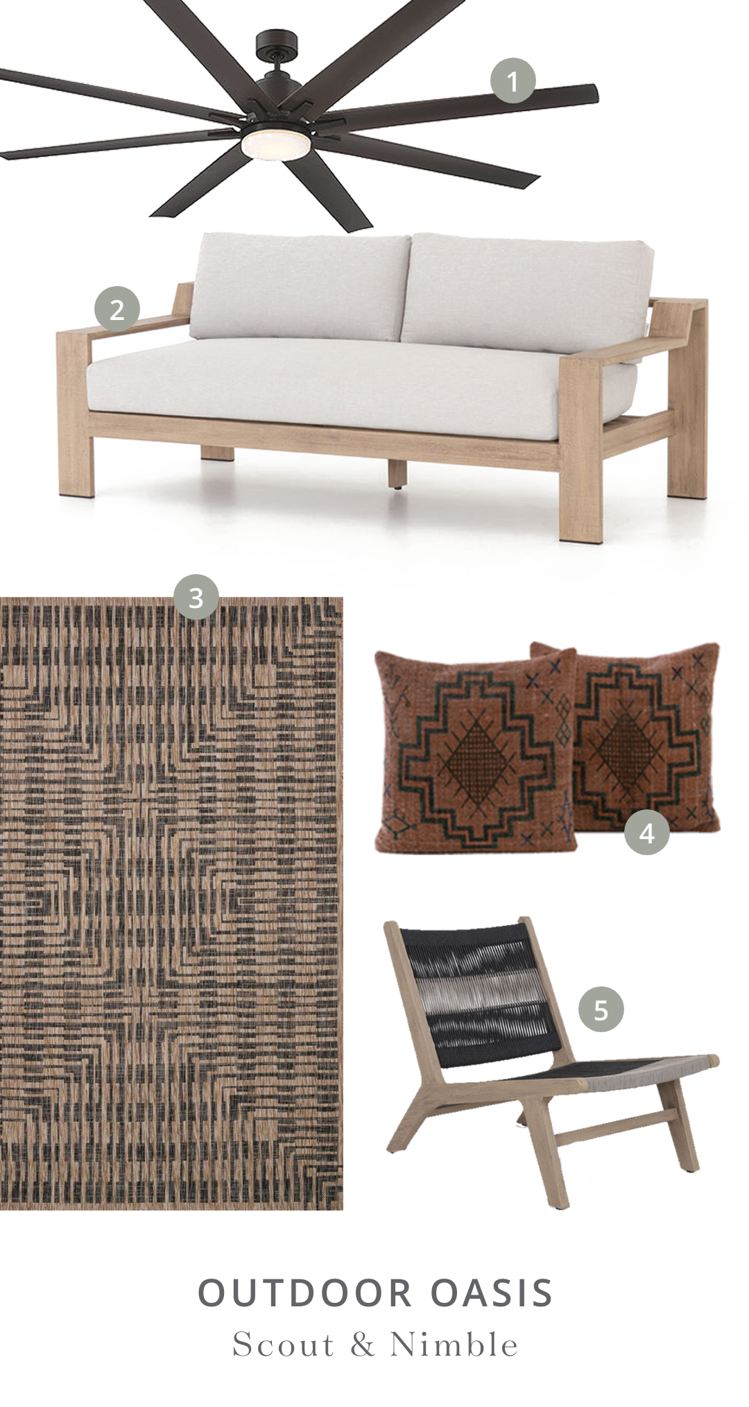 "Shop the Look  | 1.  Bluffton 72"" 8-Blade Ceiling Fan  2.  Monterey Outdoor Sofa  3.  Isle Brown/Black Rug  4.  Tribal Print Rust Pillow, set of 2  5.  Julian Outdoor Chair"