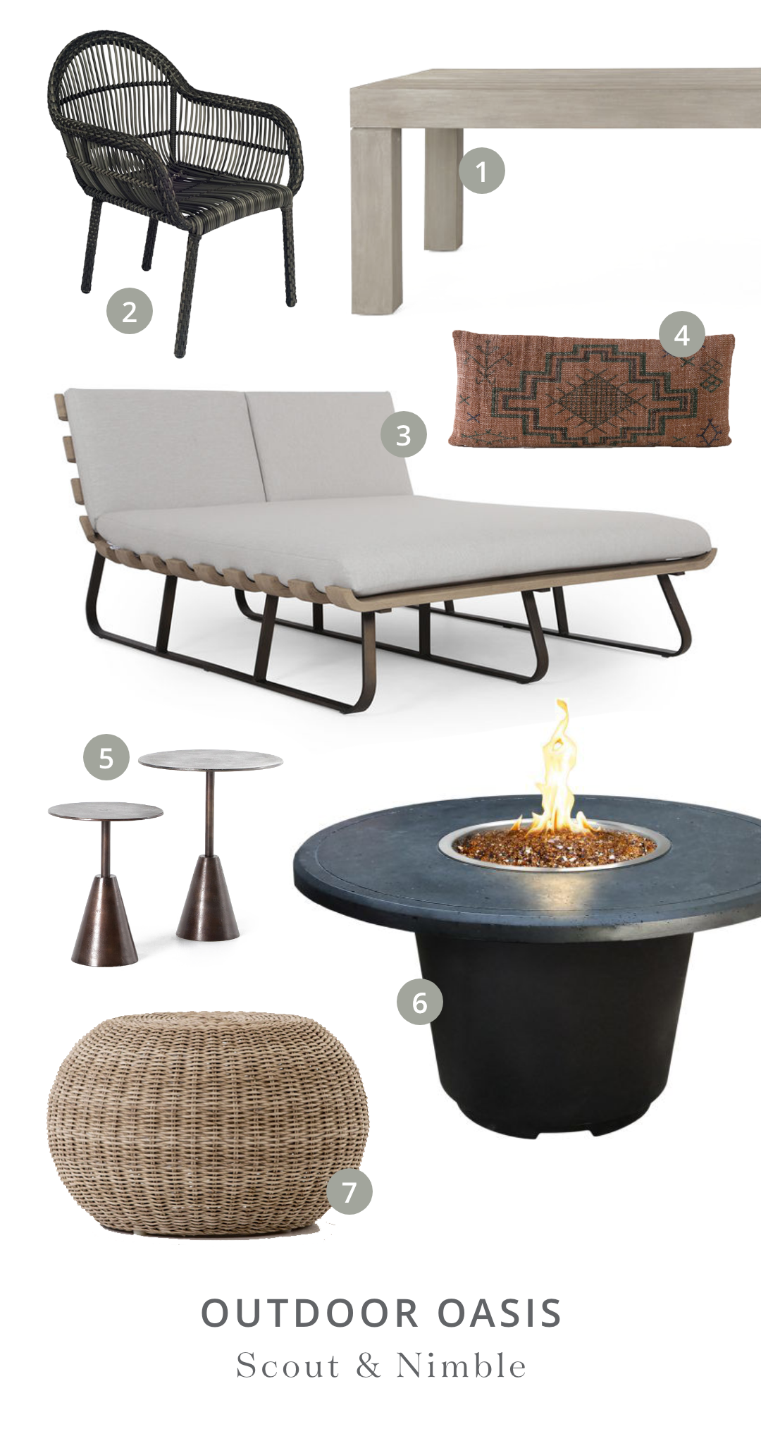 Shop the Look  | 1.  Sonora Outdoor Dining Table  2.  Canaveral Cape Dining Arm Chair  3.  Dimitri Double Daybed  4.  Tribal Print Rust Lumbar Pillow  5.  Frisco End Tables, set of 2  6.  Cosmopolitan Round Firetable  7.  Phoenix Outdoor Accent Stool