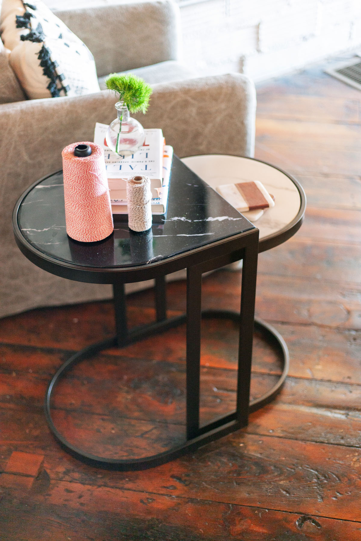 The  Stanton Nesting End Tables  are the perfect perch for a cup of coffee