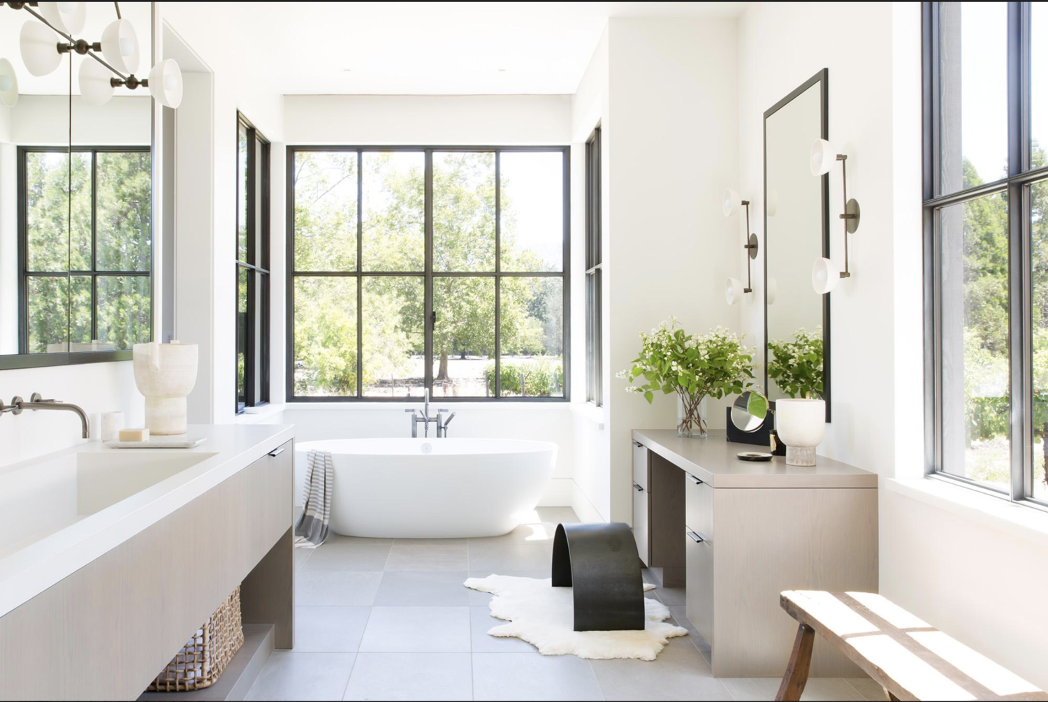 Vineyard Views | This dreamy bathroom provides so much natural light and a picturesque scene of the rolling vineyards just outside.