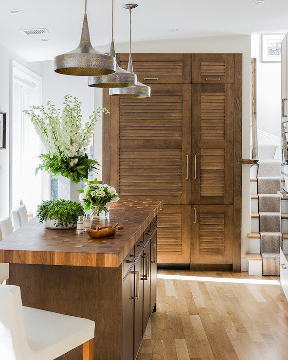 Maple island and louvered door fronts | Design by  Venegas and Company  | Photography by  Michael J Lee