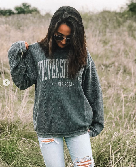 1. Charles River Corded Crewneck - Soft, distressed, and oversized. You'll be wearing this WEEKLY whether it's walking to class or lounging around!