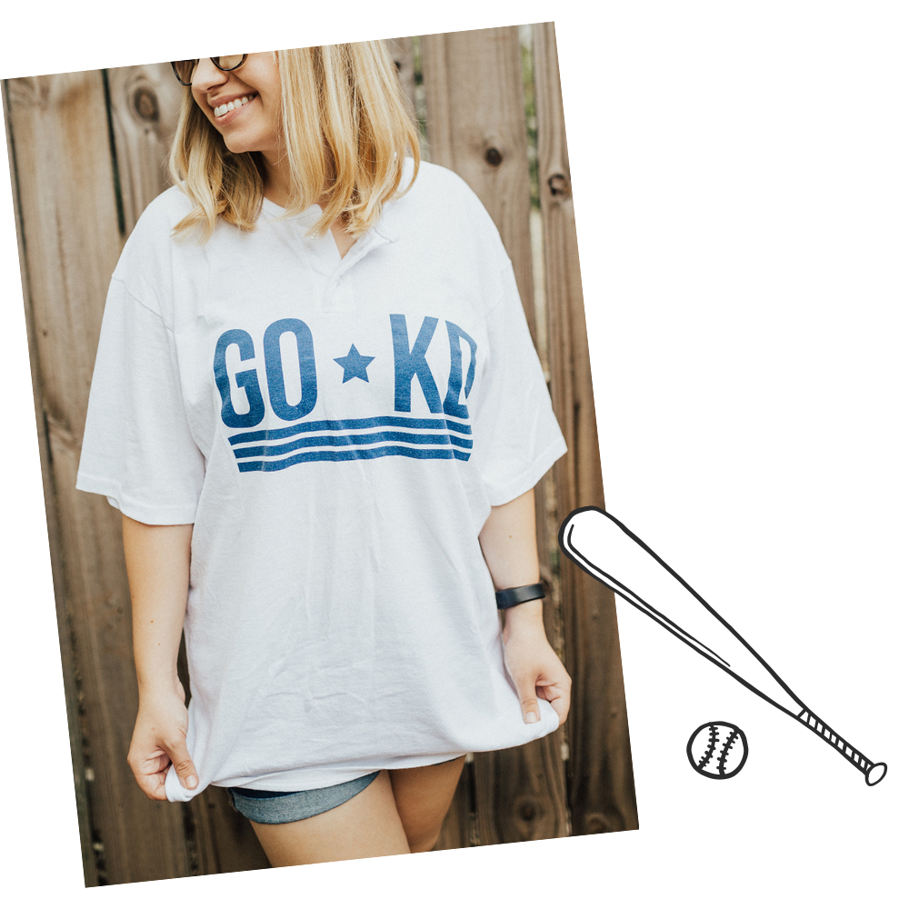 With Shorts - This outfit is one of the classic choices to go with. It's simple and looks good with the baseball tee being the star!