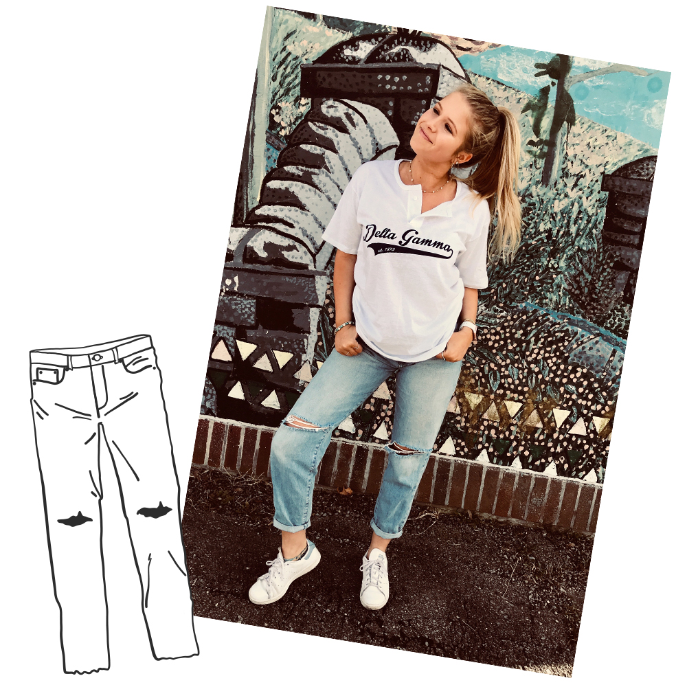 Boyfriend Jeans - Pair this tee with boyfriend jeans for a sporty yet favorable look!
