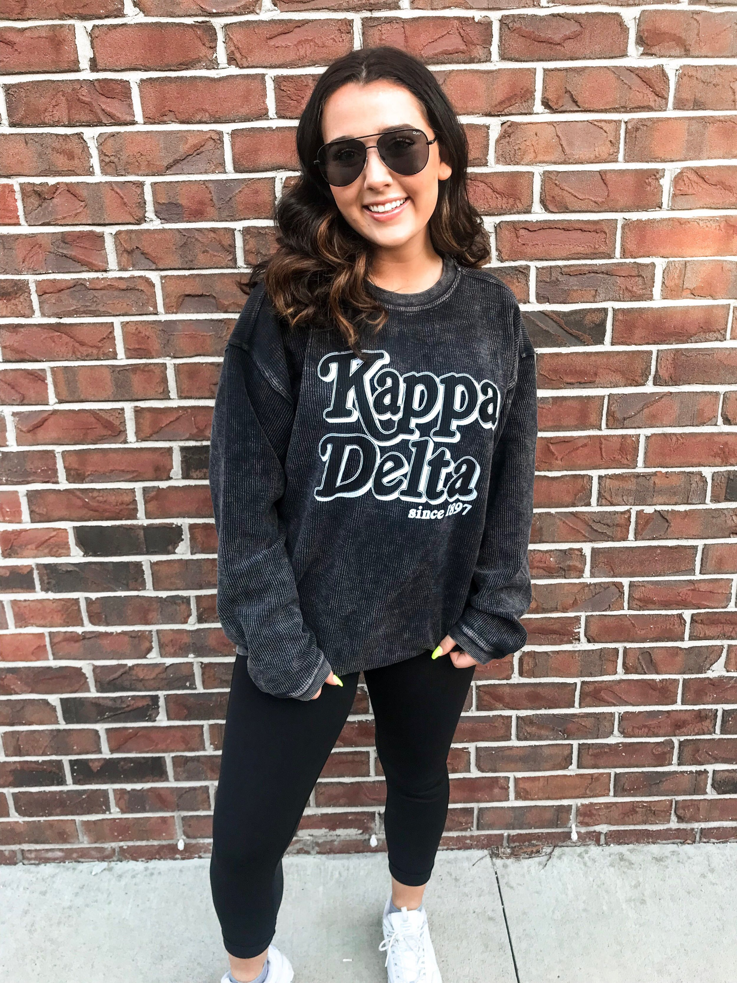 """""""The corded crews are my go-to comfy item for class! They are perfect to pair with leggings, and I have one for every day of the week! I'm that obsessed."""" - -AINSLEY O'DONNELL (@ainsleyodonnel), Kappa Delta"""