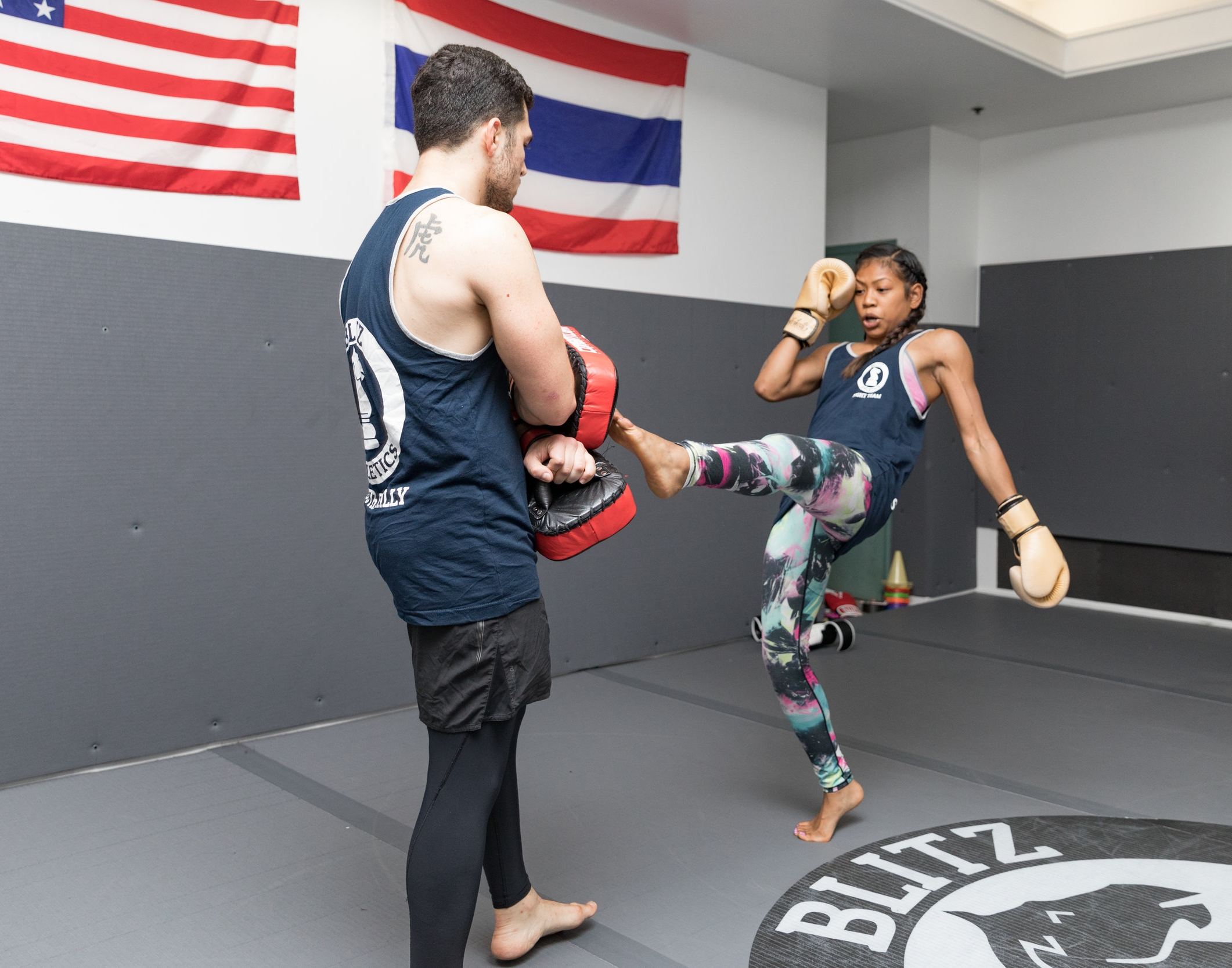 Muay Thai Kickboxing - Muay Thai Kickboxing (also known as the Art of Eight Limbs) is a high paced style of fighting brought to the United States from Thailand. Muay Thai combines the use of hands, knees, elbows and legs to throw powerful strikes (hence the eight limbs).All of our classes are planned to teach exciting martial arts techniques that have been proven effective in both self defense scenarios and competition.